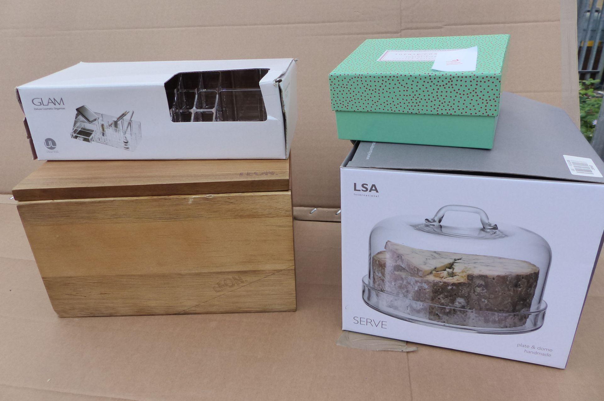 4 items LSA Dome, Sophie Conran butter dish, Leon Storage box