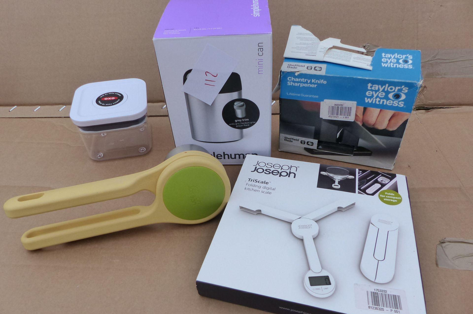 5 items Joseph Joseph Masher, simplehuman min bin, Oxo storage box