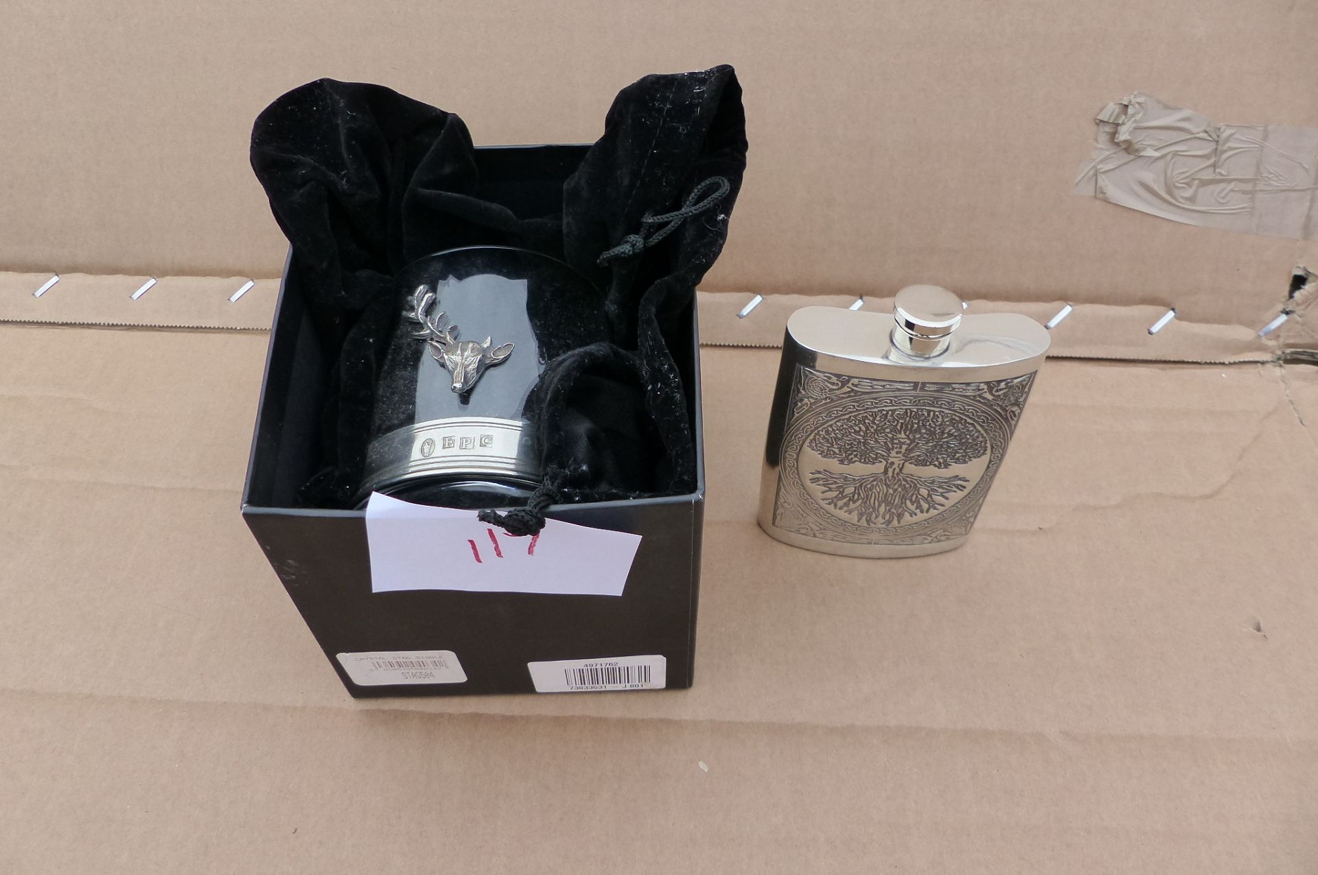 English Pewter Company Whiskey glass and drinks flask