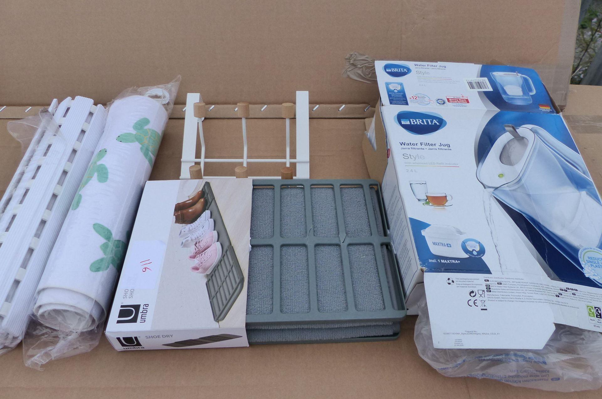 5 items Britta water filter, Umbra shoe mat and shower mats