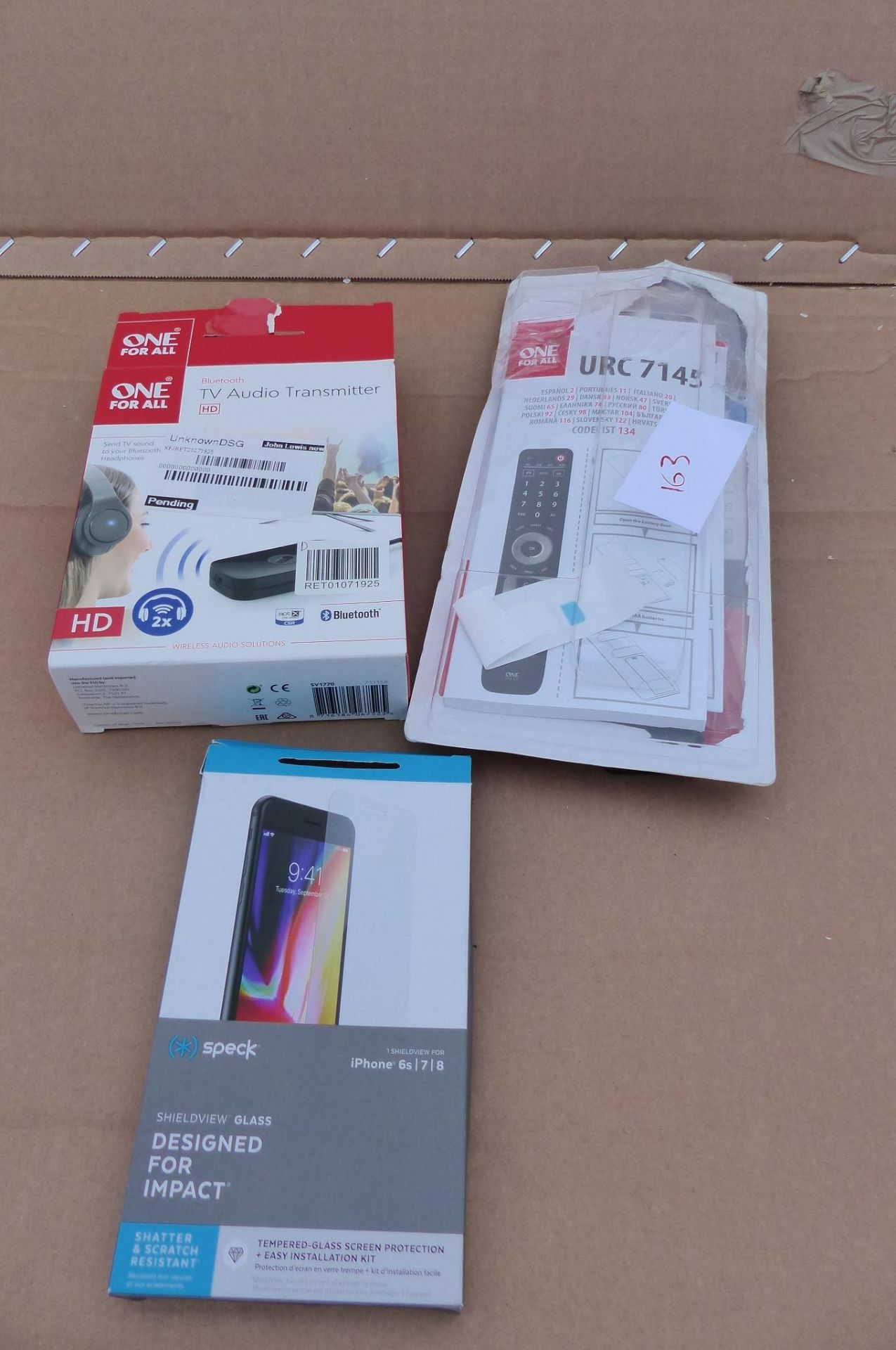 3 items tv remote, Speck phone case and more
