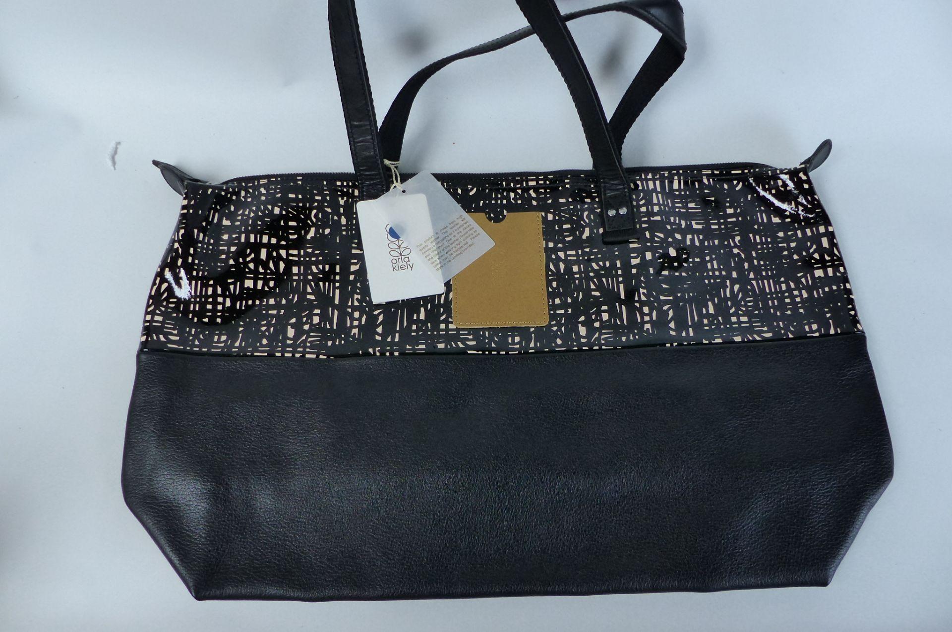 Orla Kiely Textured Bark Leather Shopper Bag Black
