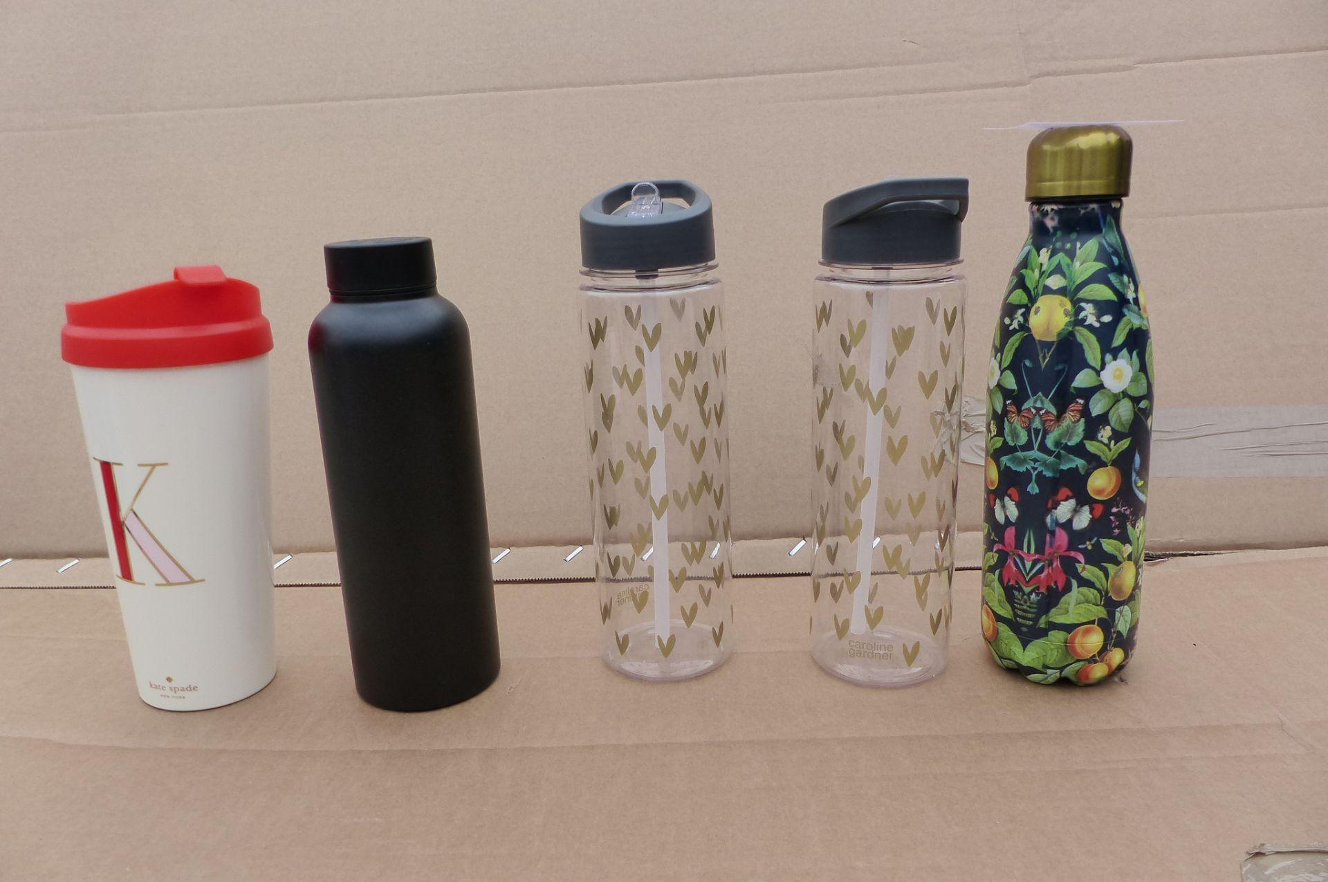 5 items Water bottles and travel mug