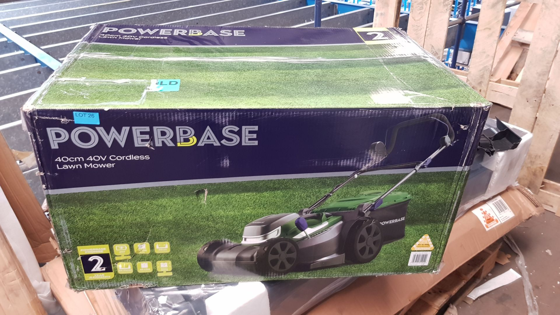 (P10) 1x Powerbase 40cm 40V Cordless Lawn Mower RRP £199. New, Sealed Undelivered Item. - Image 3 of 3