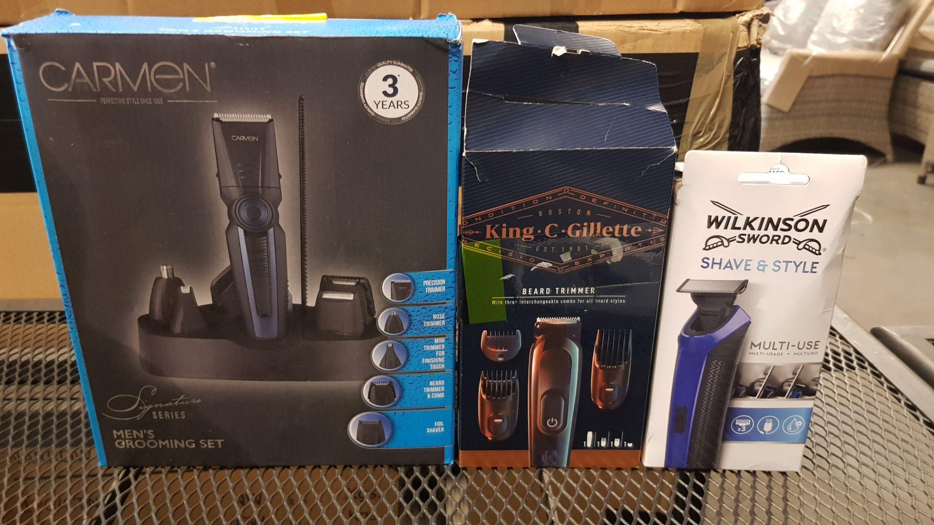 (15) 3x Grooming Items. 1x Carmen Men's Grooming Set. 1x Boston King C Gillette Beard Trimmer. 1x W - Image 5 of 9