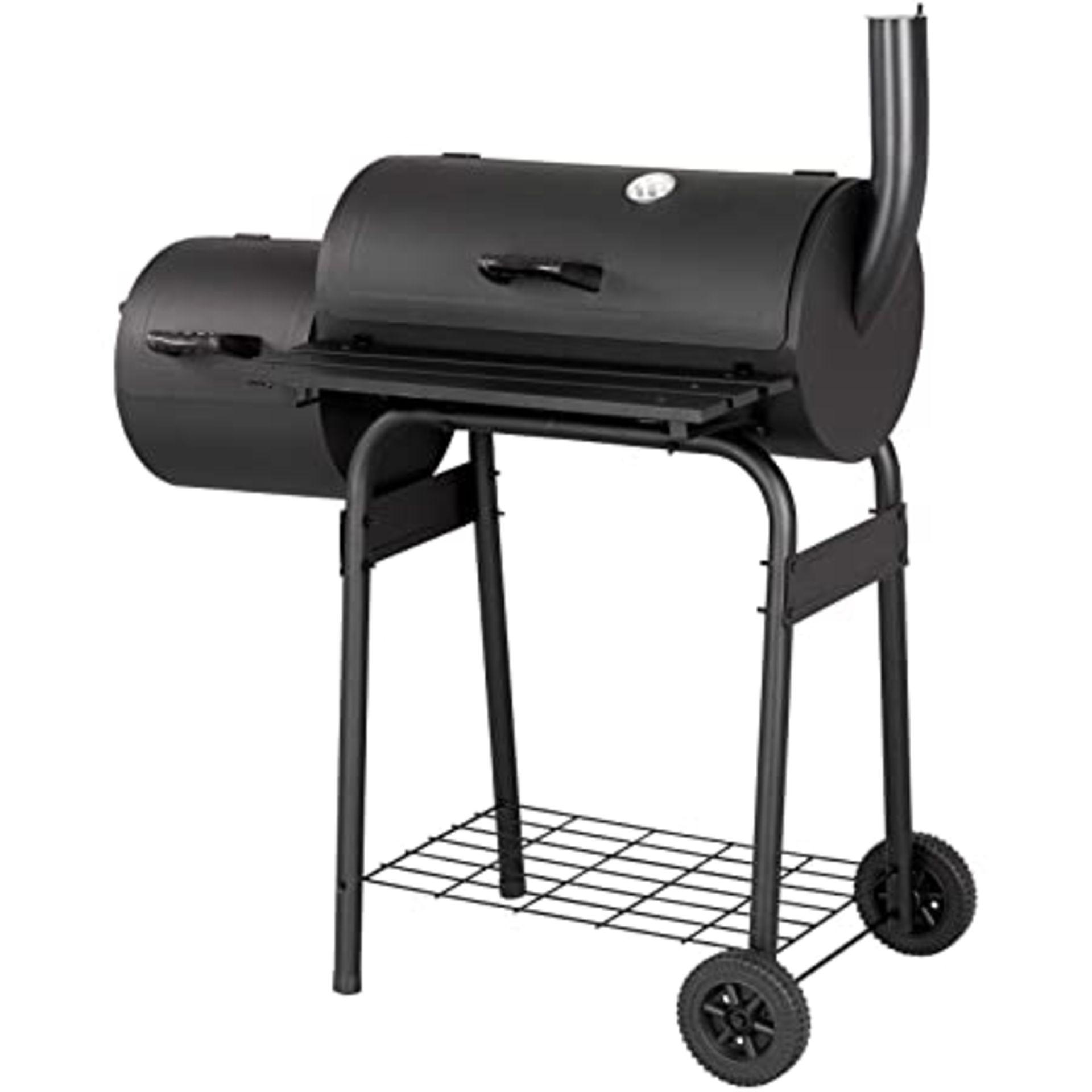 (P3) 1x Texas Starter Smoker & BBQ. Steel With Black Powder Coated Hood & Firebowl. (H114x W103x - Image 2 of 3