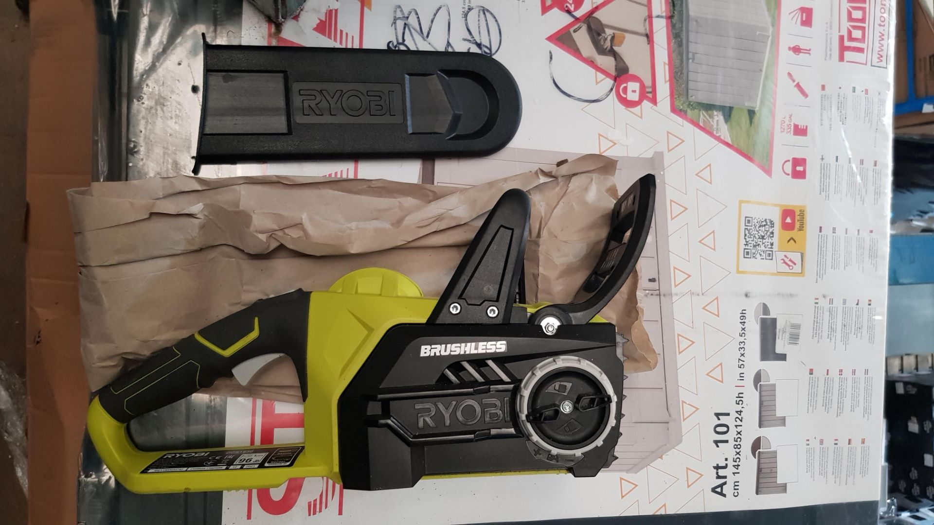 (P9) 1x Ryobi One+ Brushless 18V Cordless Chainsaw RRP £160. (With Battery & Charger) - Image 7 of 8