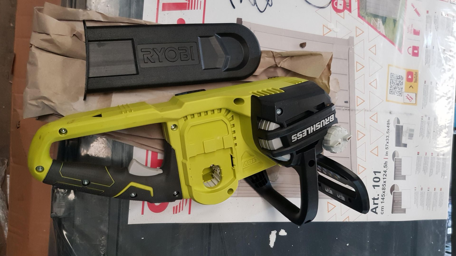 (P9) 1x Ryobi One+ Brushless 18V Cordless Chainsaw RRP £160. (With Battery & Charger) - Image 8 of 8