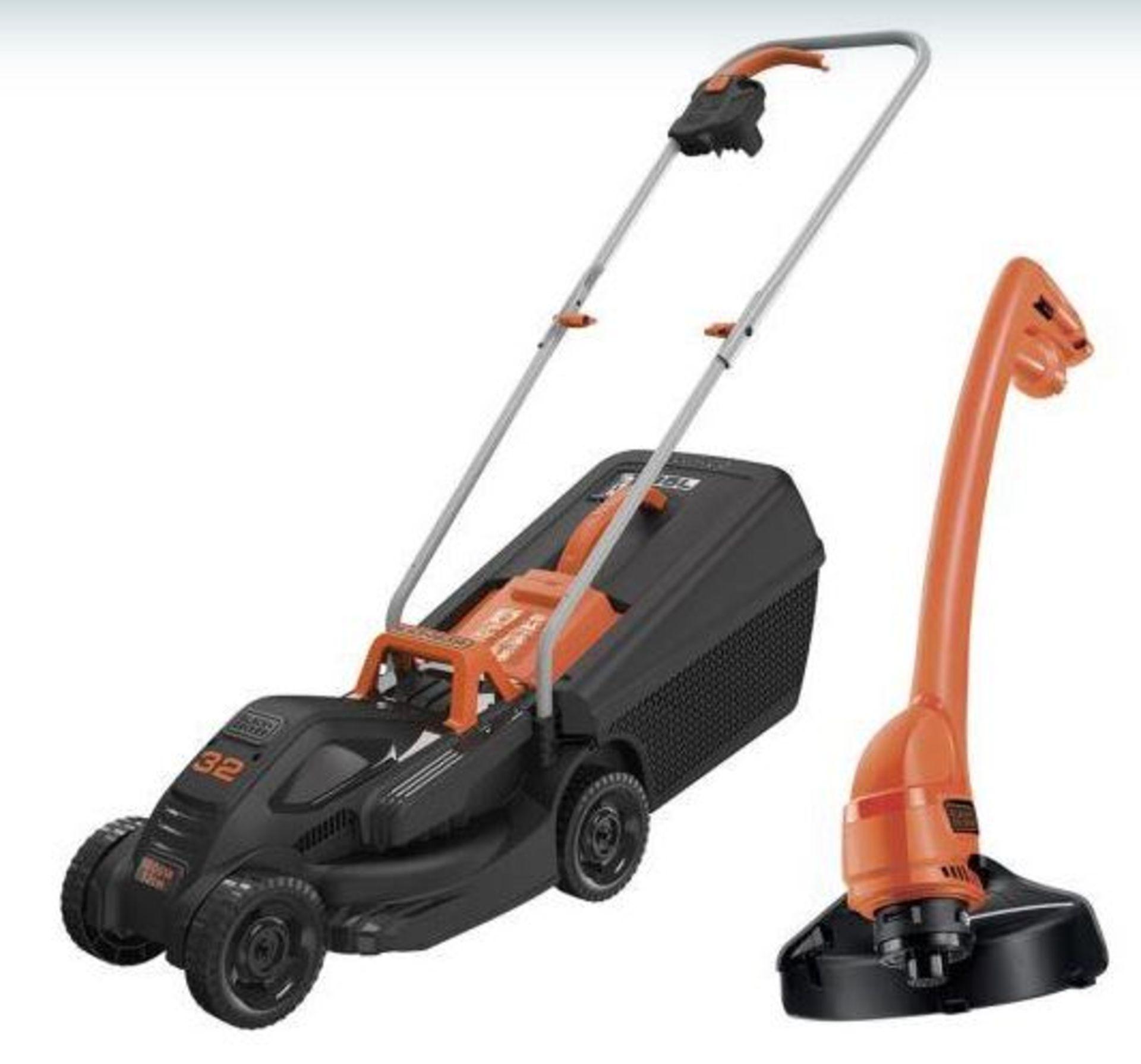 (P5) 1x Black & Decker 32cm 1000W Corded Lawn Mower & Strimmer RRP £99. Contents Appear Clean, Unu