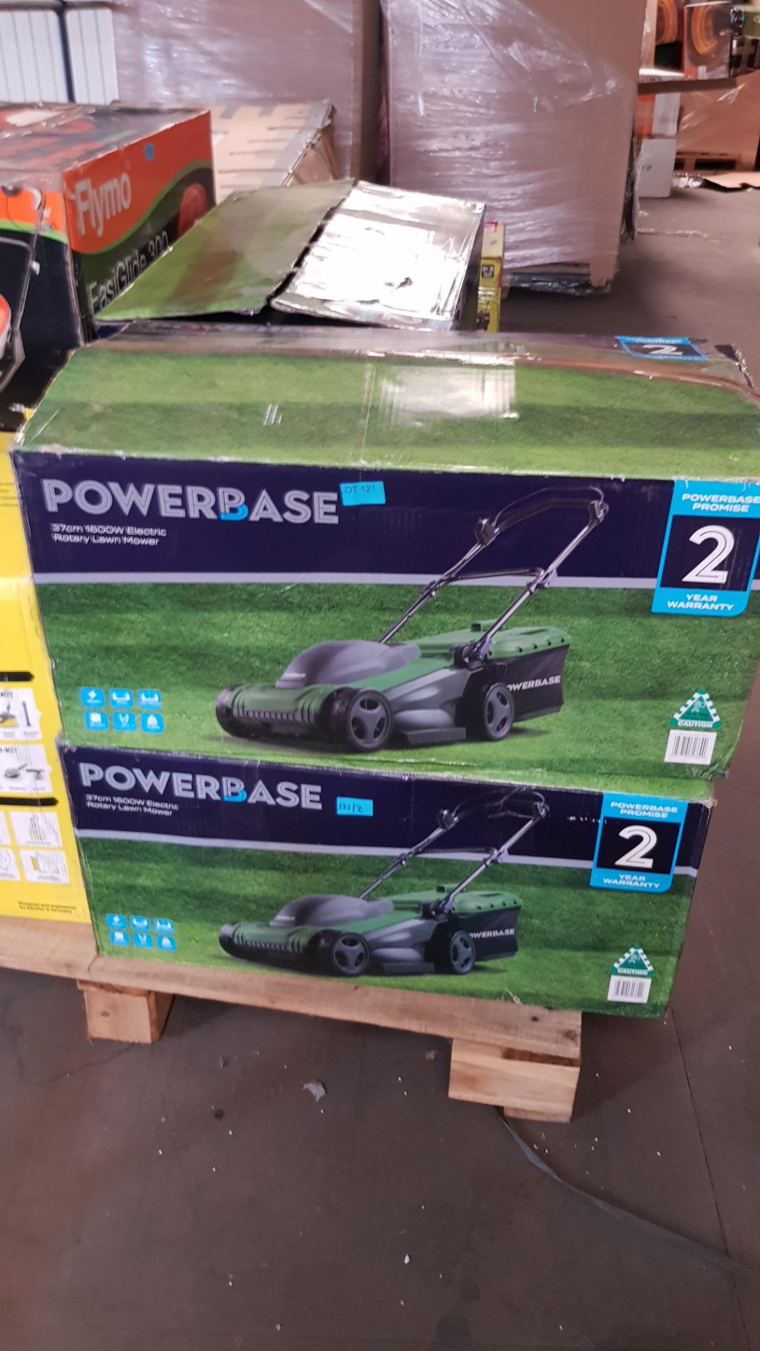 (P2) 2x Powerbase 37cm 1600W Electric Rotary Lawn Mower. RRP £99.00. - Image 3 of 3
