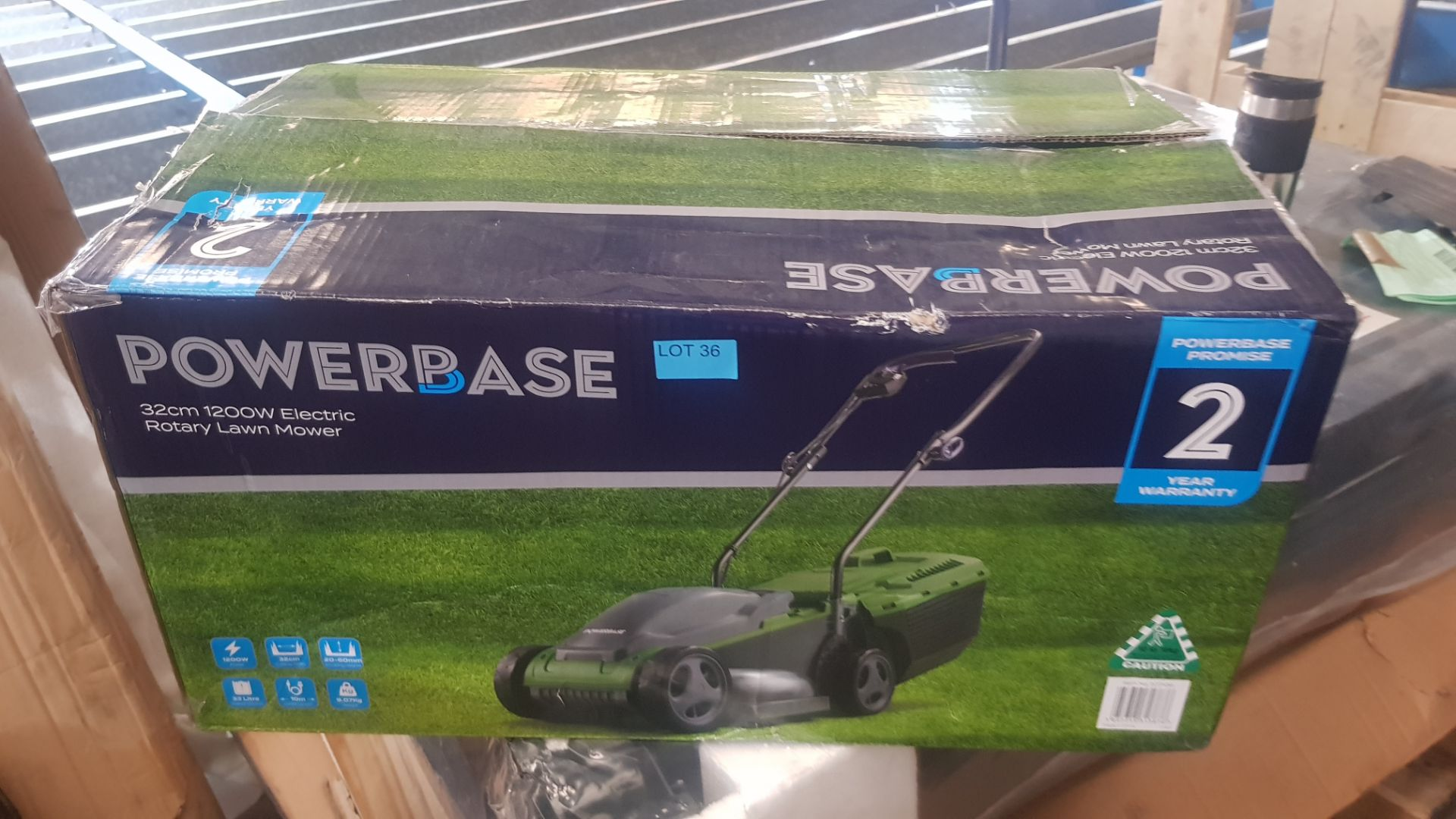 (P8) 1x Powerbase 32cm 1200W Electric Rotary Lawn Mower RRP £59. (Unit Appears Clean, Unused & As - Image 3 of 4