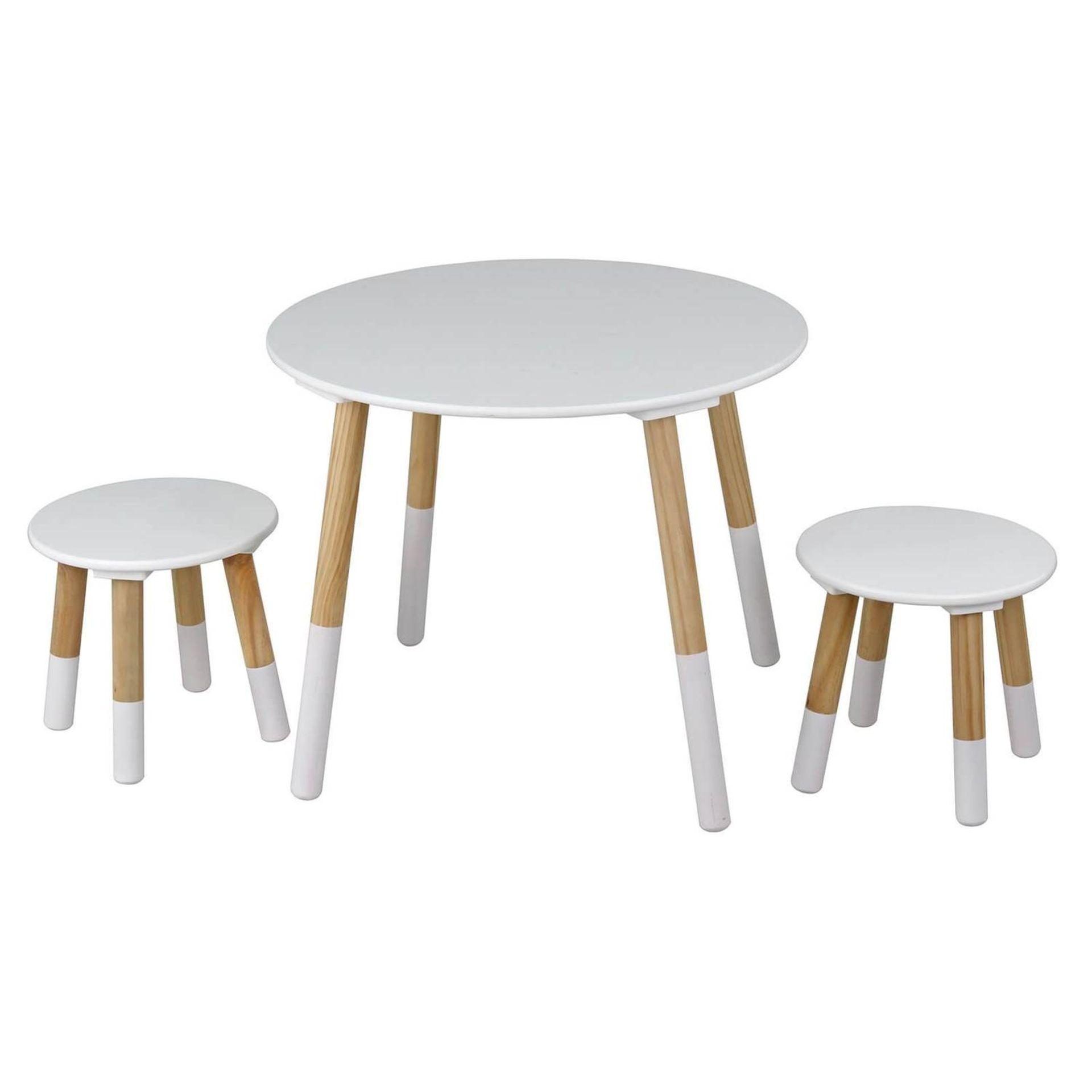 (P3) 1x Flexi Storage Kids Round Table With 2x Stools. White / Oak Finish. Table: H485x W595mm. S