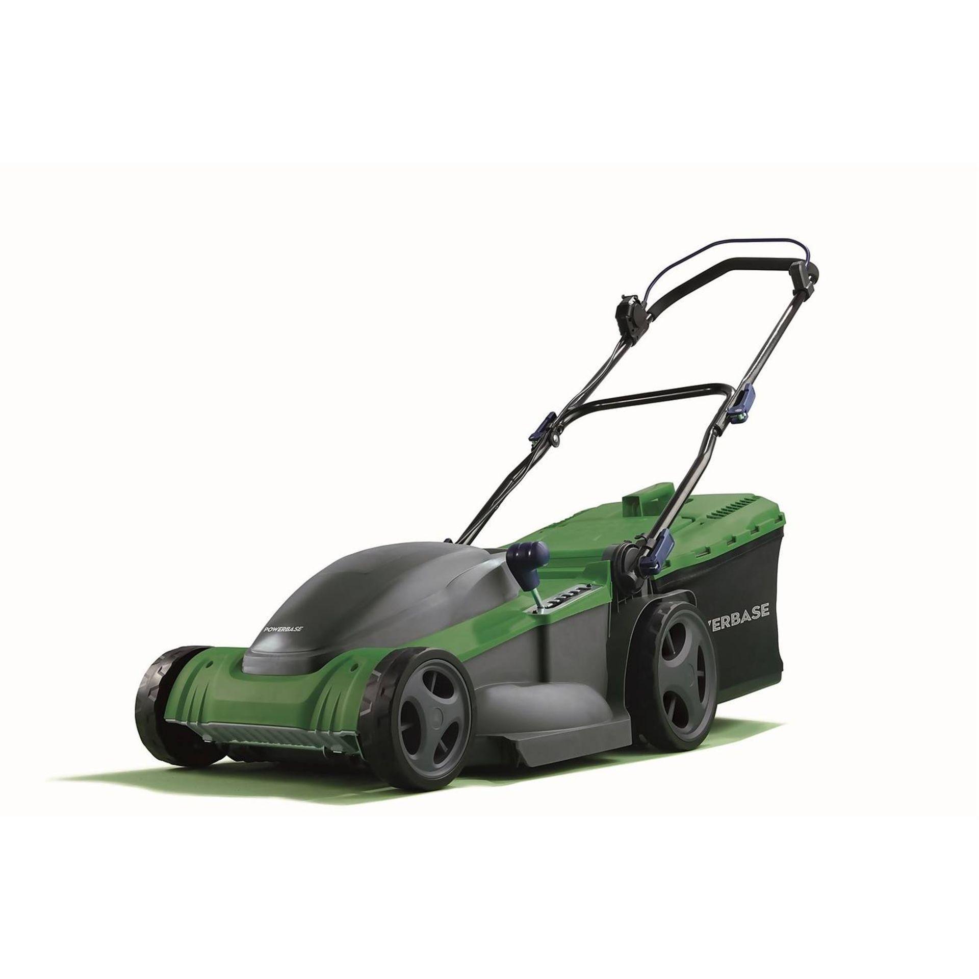 (P2) 2x Powerbase 41cm 1800W Electric Rotary Lawn Mower. RRP £119.00.