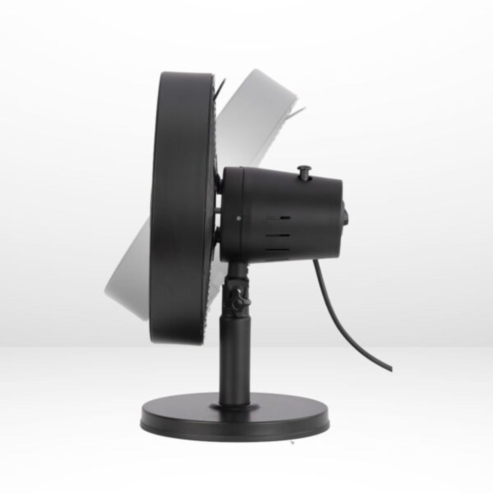 "(P9) 2x Arlec 12"" Matt Black 5 Blade Metal Desk Fan RRP £39 Each. Both Units Appear As New, But Da - Image 2 of 6"