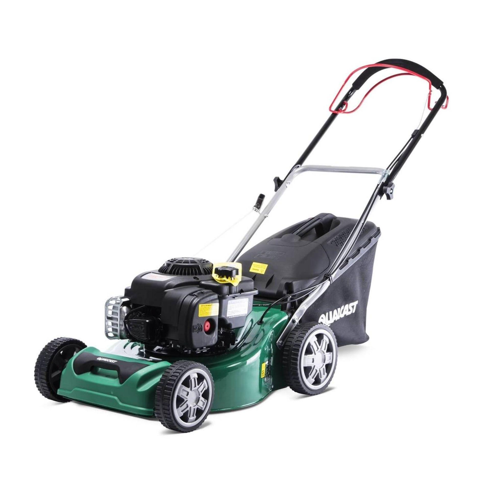 (P10) 1x Powerbase 41cm 125cc Push Petrol Rotary Lawn Mower (XSS41D) RRP £199. New, Clean Unused I - Image 2 of 8
