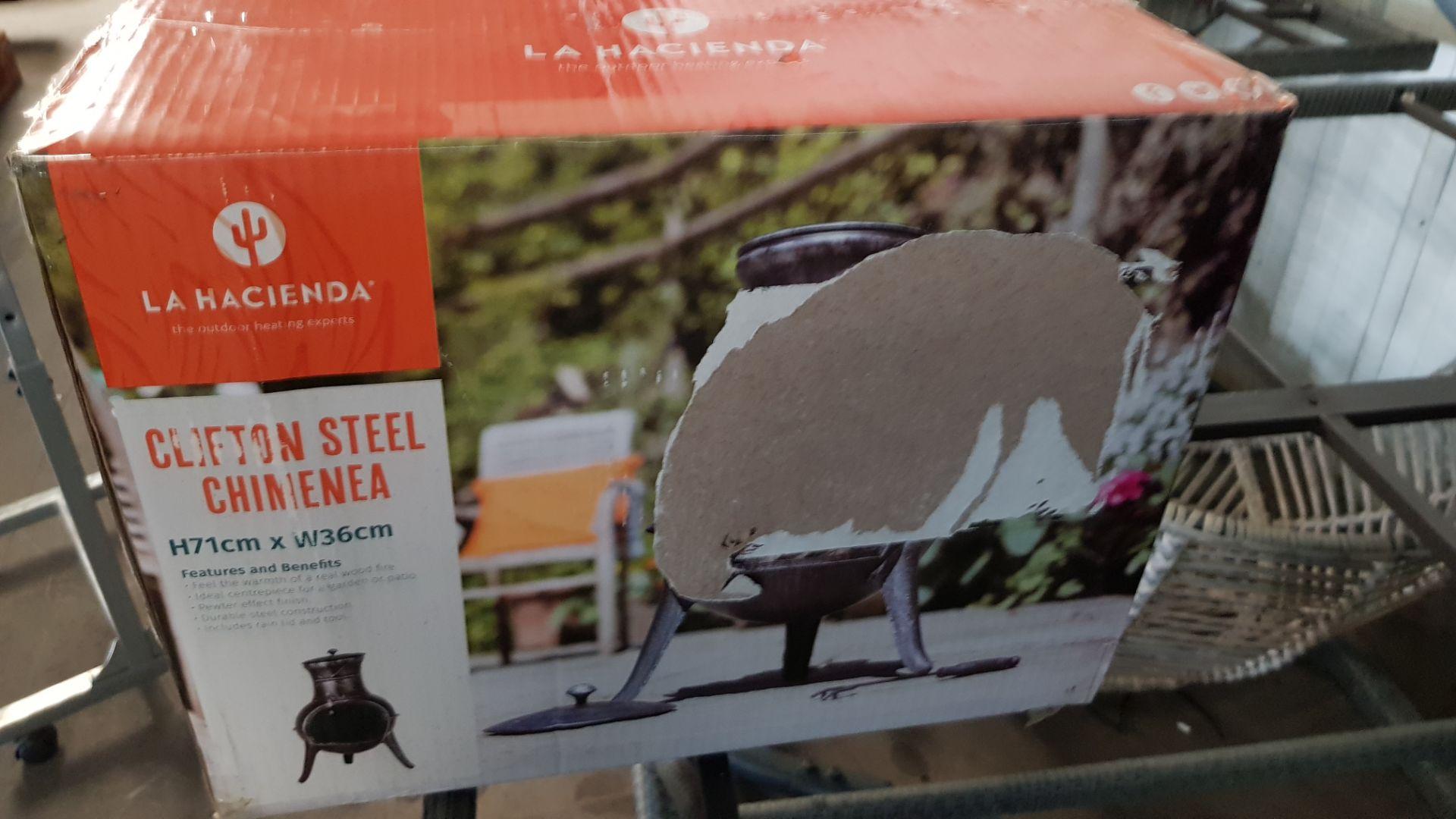 (P8) 1x La Hacienda Clifton Steel Chimenea (H71x W36cm). New, Sealed Item With Some Box Damage. - Image 4 of 4