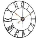 (P3) 1x Wall Clock Black. Traditional Style Clock With Roman Numerals, With Gold Hands. (H80x Dia