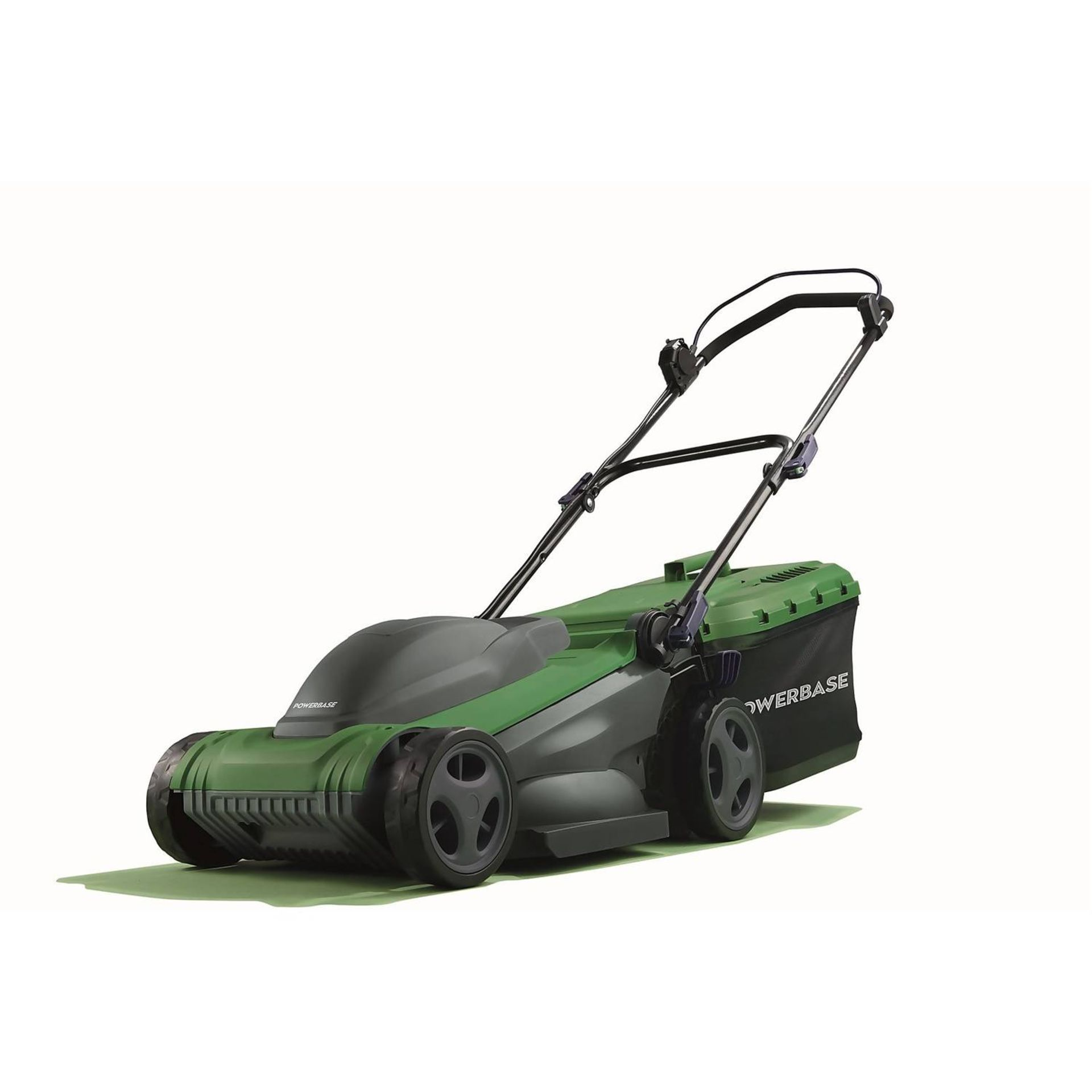 (P2) 2x Powerbase 37cm 1600W Electric Rotary Lawn Mower. RRP £99.00.