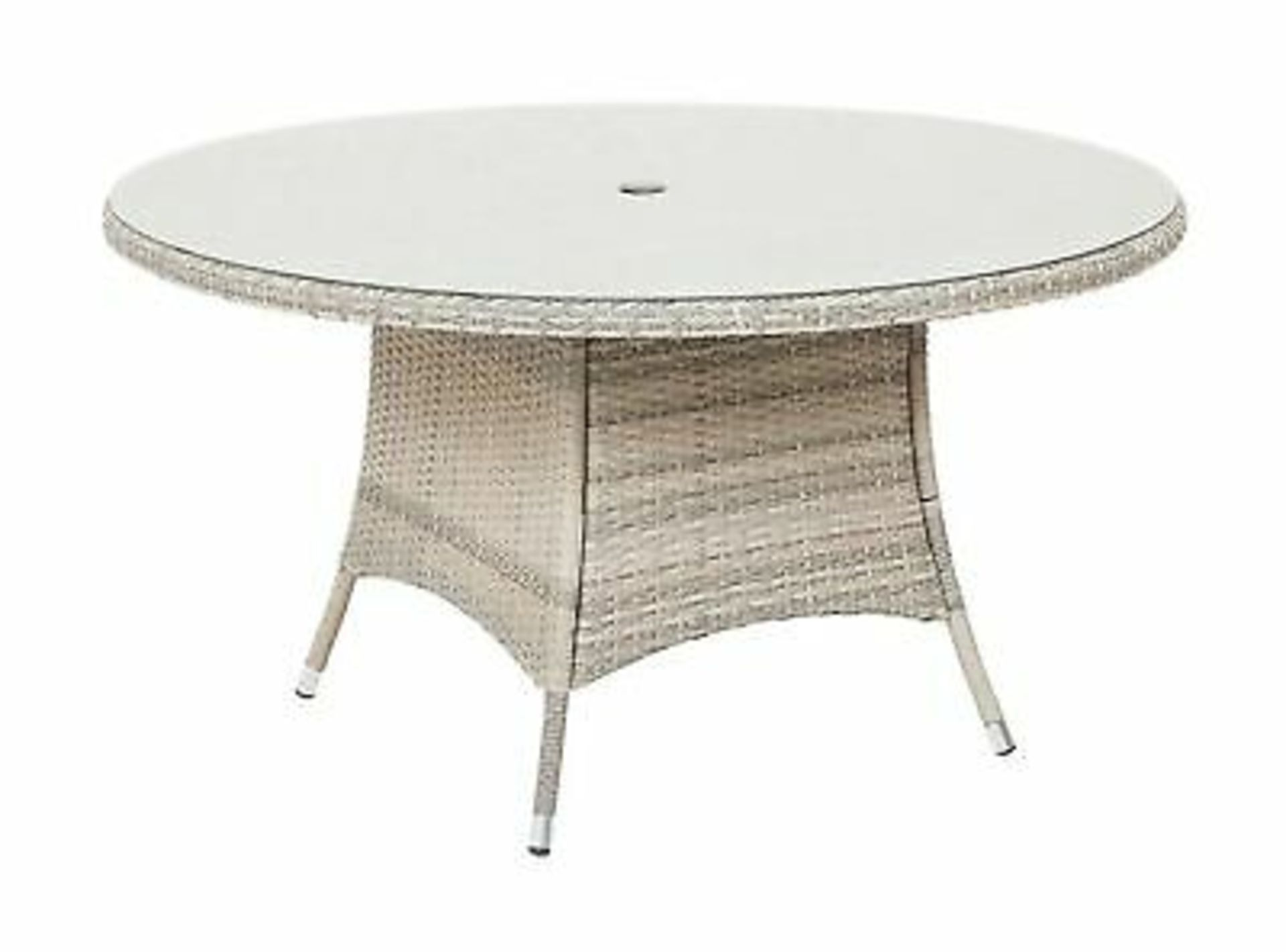 (3C) 2x Items. 1x Round Rattan 6 Seater Garden Patio Table With Mottled Table Top. 1x 2.7M Crank &