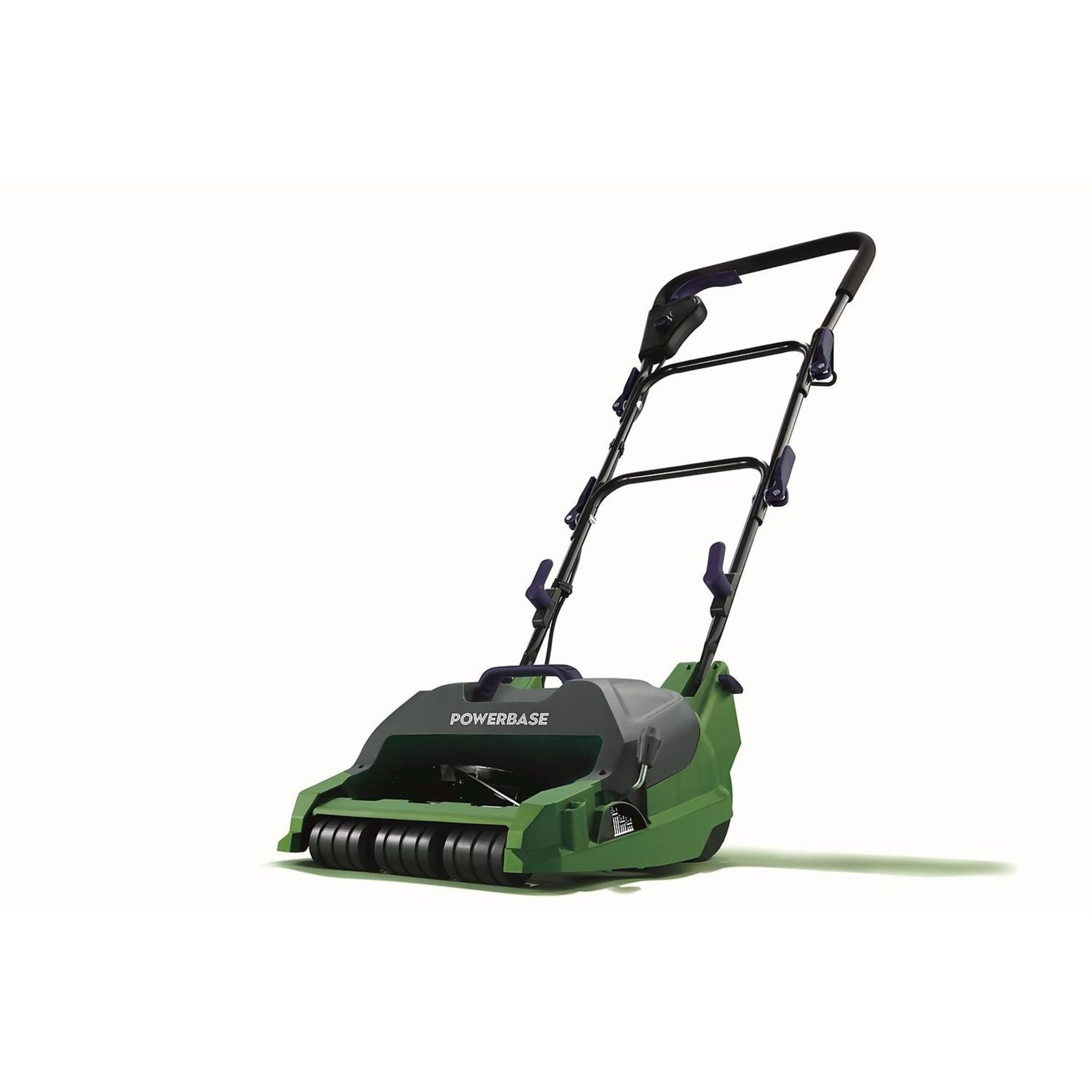 (P9) 2x Items. 1x Powerbase 32cm 400W Electric Cylinder Lawn Mower. RRP £89. 1x Qualcast 32cm 1200
