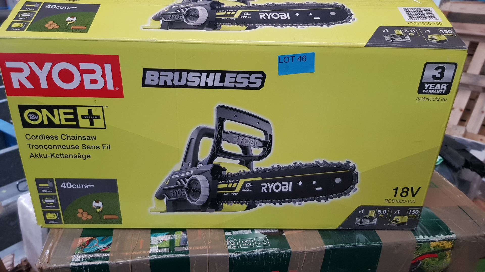 (P9) 1x Ryobi One+ Brushless 18V Cordless Chainsaw RRP £160. (With Battery & Charger) - Image 3 of 8