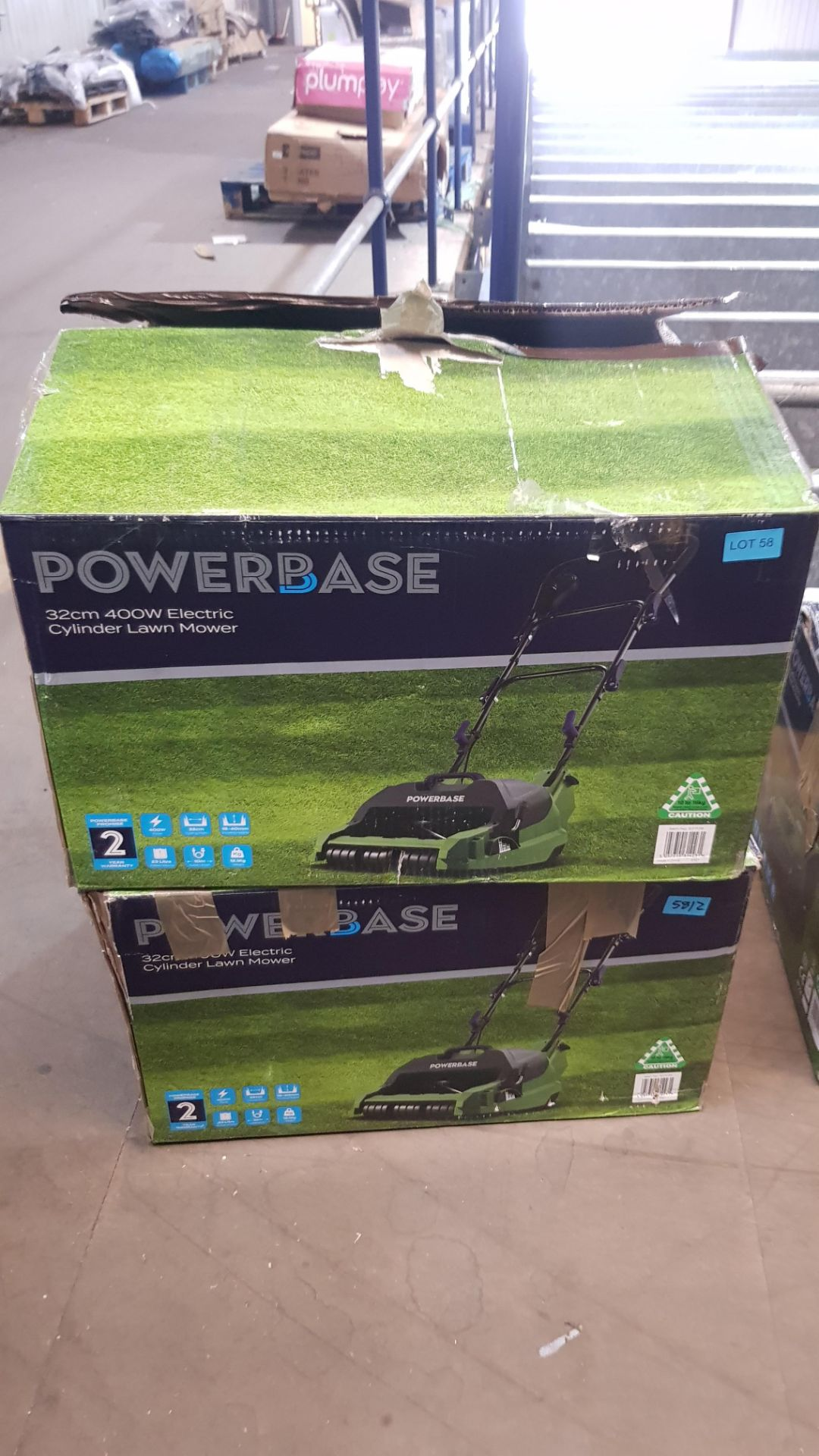 (P6) 2x Powerbase 32cm 400W Electric Cylinder Lawn Mower RRP £89 Each. - Image 2 of 2
