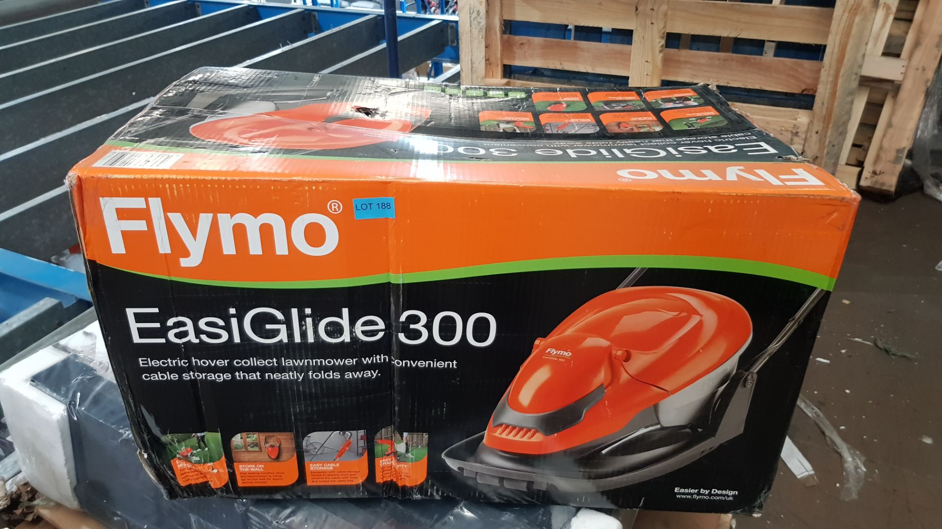 (P6) 1x Flymo EasiGlide 300 Hover Collect Lawnmower RRP £99. New Item – Damage To Box. - Image 3 of 4