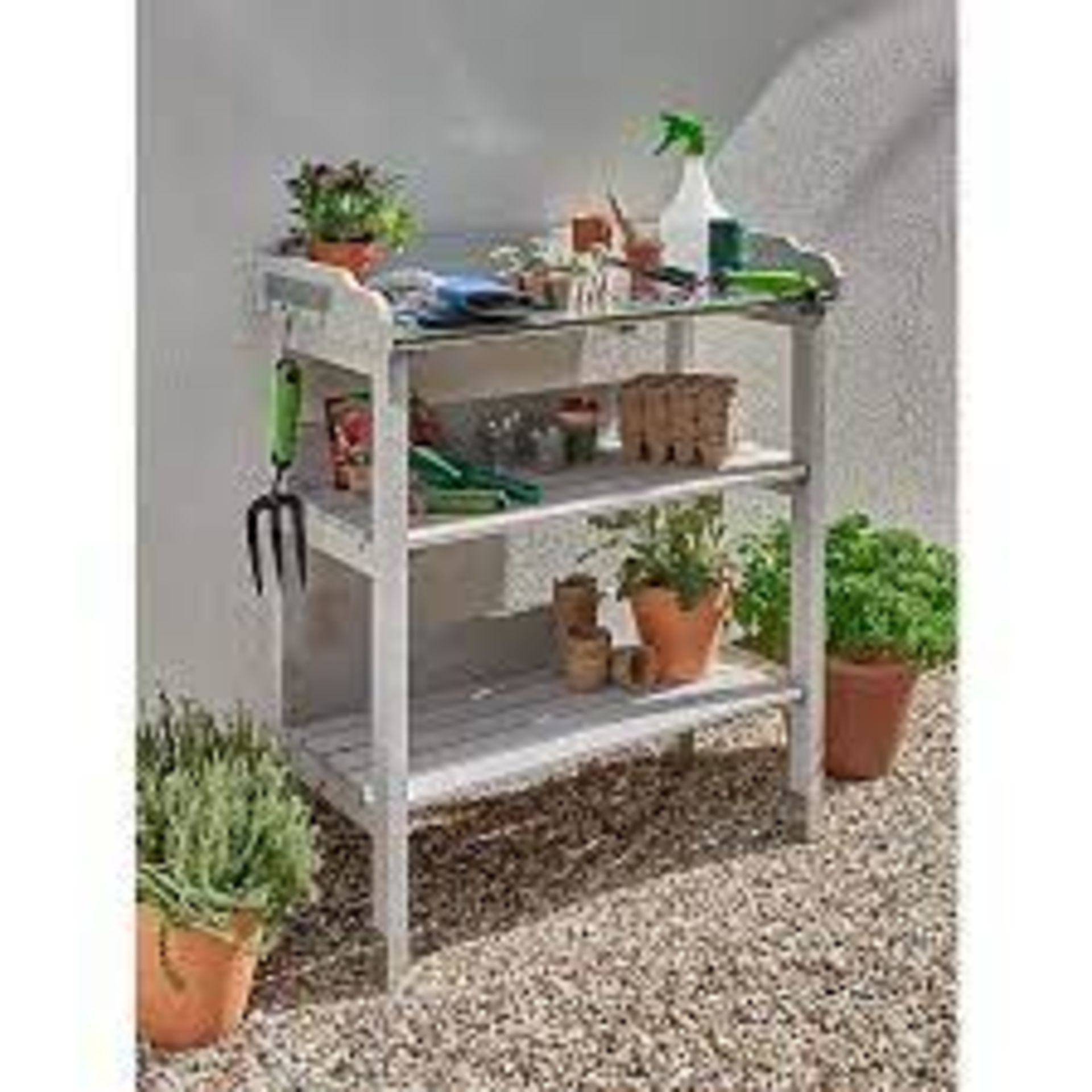 (3C) 2x Items. 1x GH Wooden Plant Stand. 1x GH Wooden Potting Bench. - Image 2 of 5