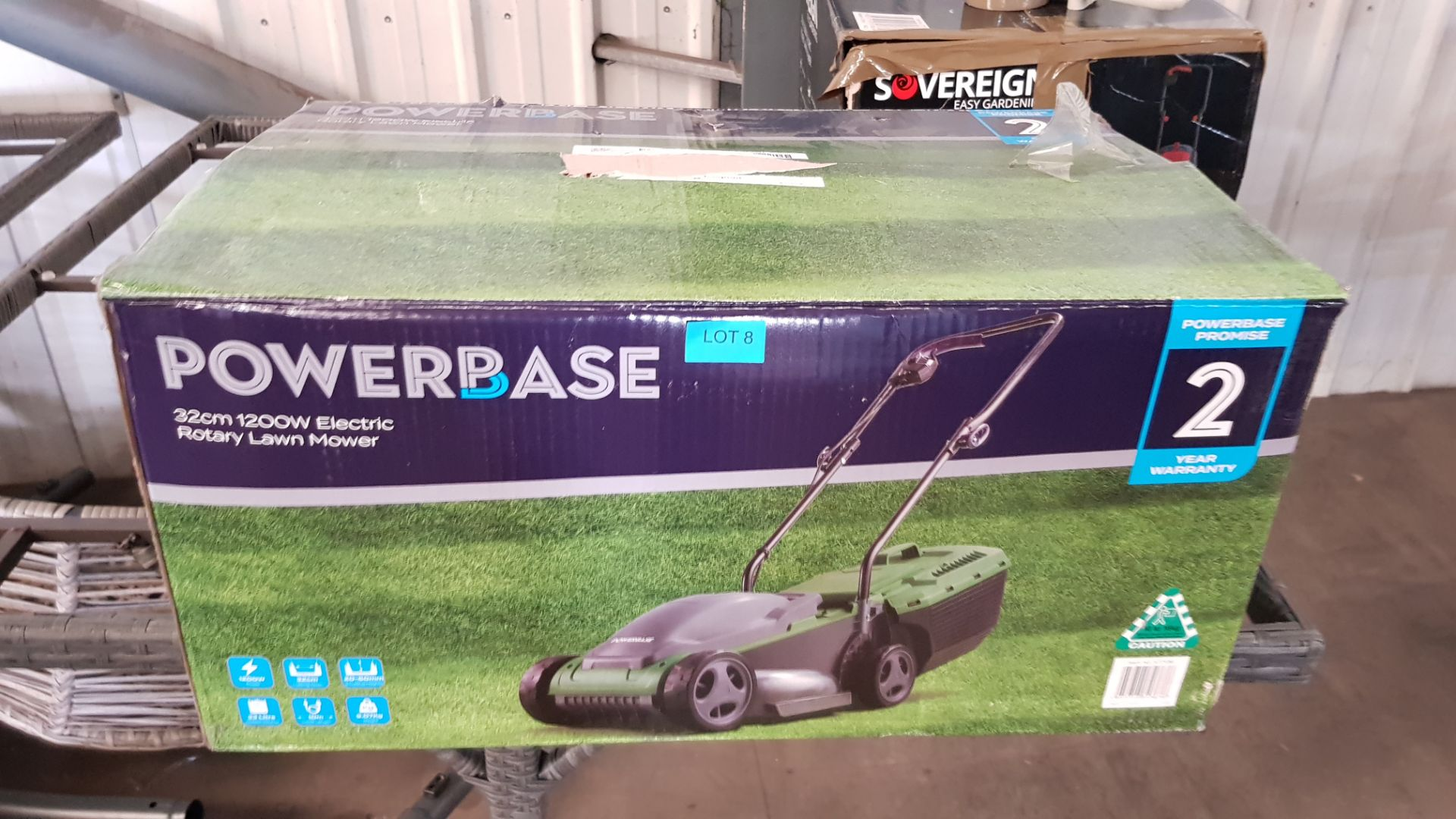(P8) 1x Powerbase 32cm 1200W Electric Rotary Lawnmower RRP £59. Contents Appear As New, Clean & Not - Image 3 of 4