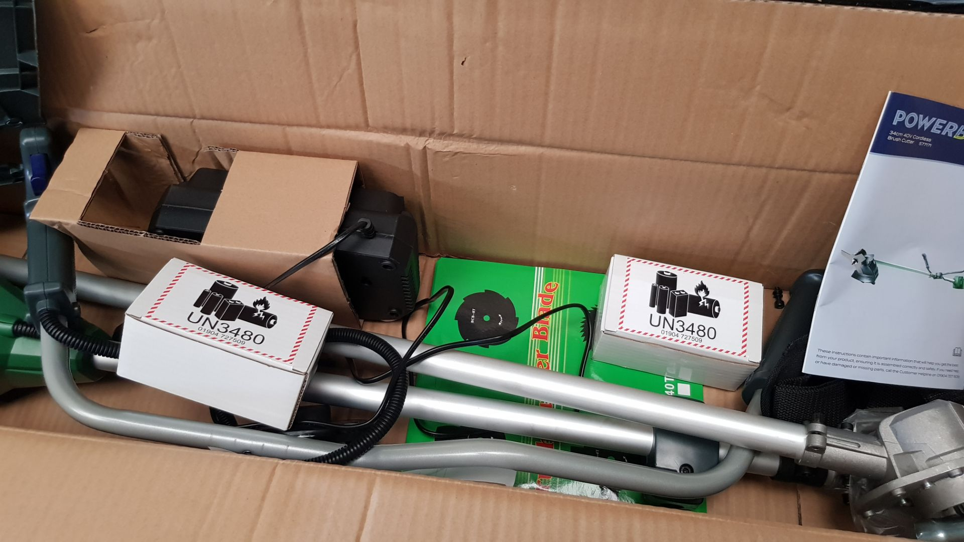 (P9) 1x Powerbase 34cm 40V Cordless Brush Cutter RRP £129. Contents Appear Clean, Unused With Batt - Image 5 of 5