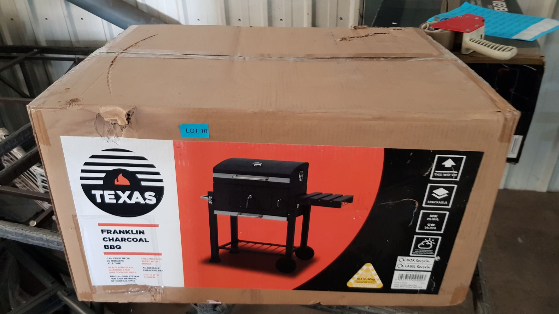 (P8) 1x Texas Franklin Charcoal BBQ. RRP £180.00. New, Sealed Unit With Slight Box Damage. - Image 3 of 3