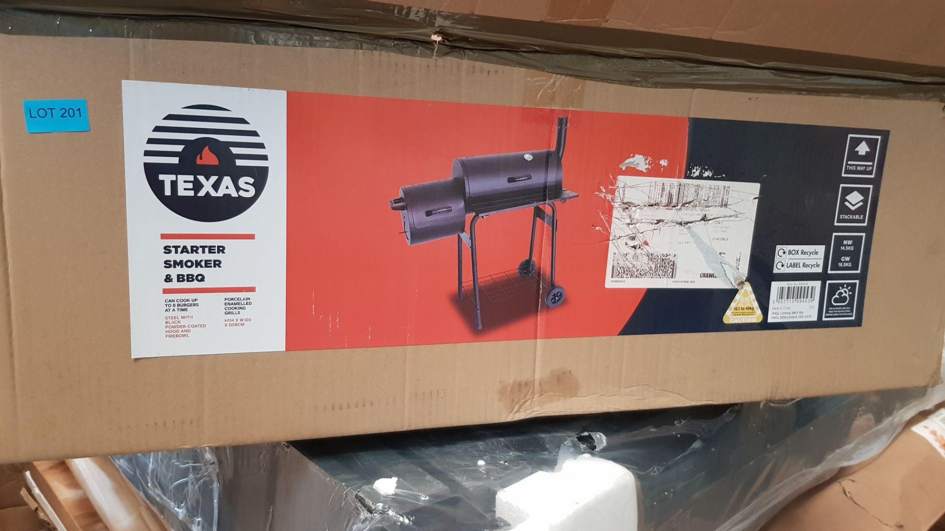 (P7) 1x Texas Starter Smoker & BBQ. Steel With Black Powder Coated Hood & Firebowl. (H114x W103x - Image 3 of 4