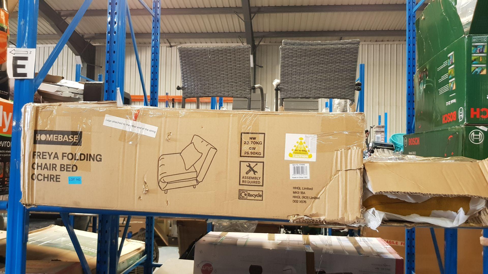 (3D) 1x Freya Folding Chair Bed Ochre. RRP £200.00. - Image 3 of 3
