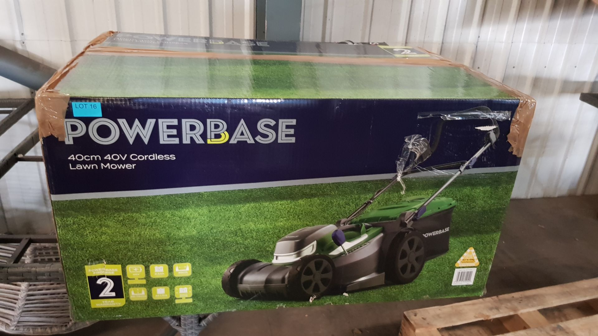 (P9) 1x Powerbase 37cm 40V Cordless Lawn Mower. RRP £199.00. Unit Appears Clean, As New & Unused. - Image 3 of 5
