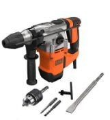 (P9) 1x Black & Decker 1250W Corded SDS-Plus Hammer Drill With Kit Box RRP £110. New, Sealed Item