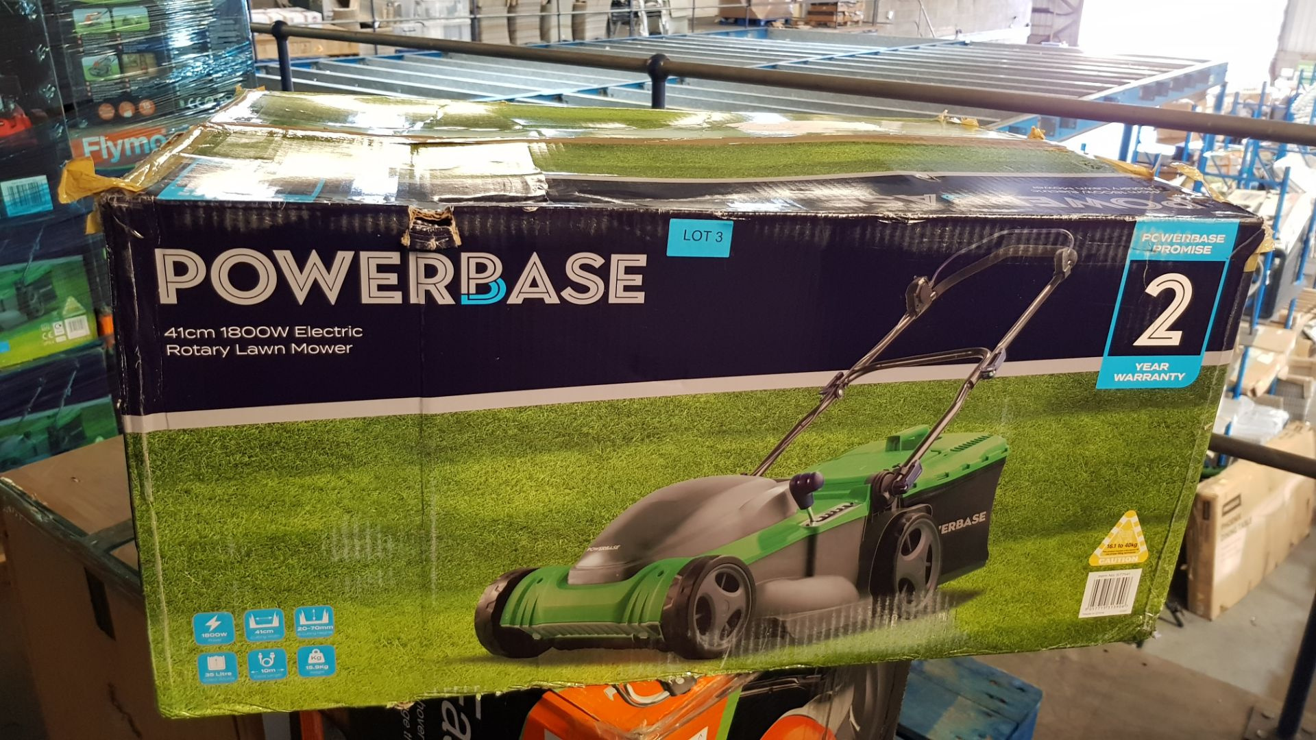 (P8) 1x Powerbase 41cm 1800W Electric Rotary Lawn Mower RRP £119. Contents Appear As New – Clean, - Image 3 of 5