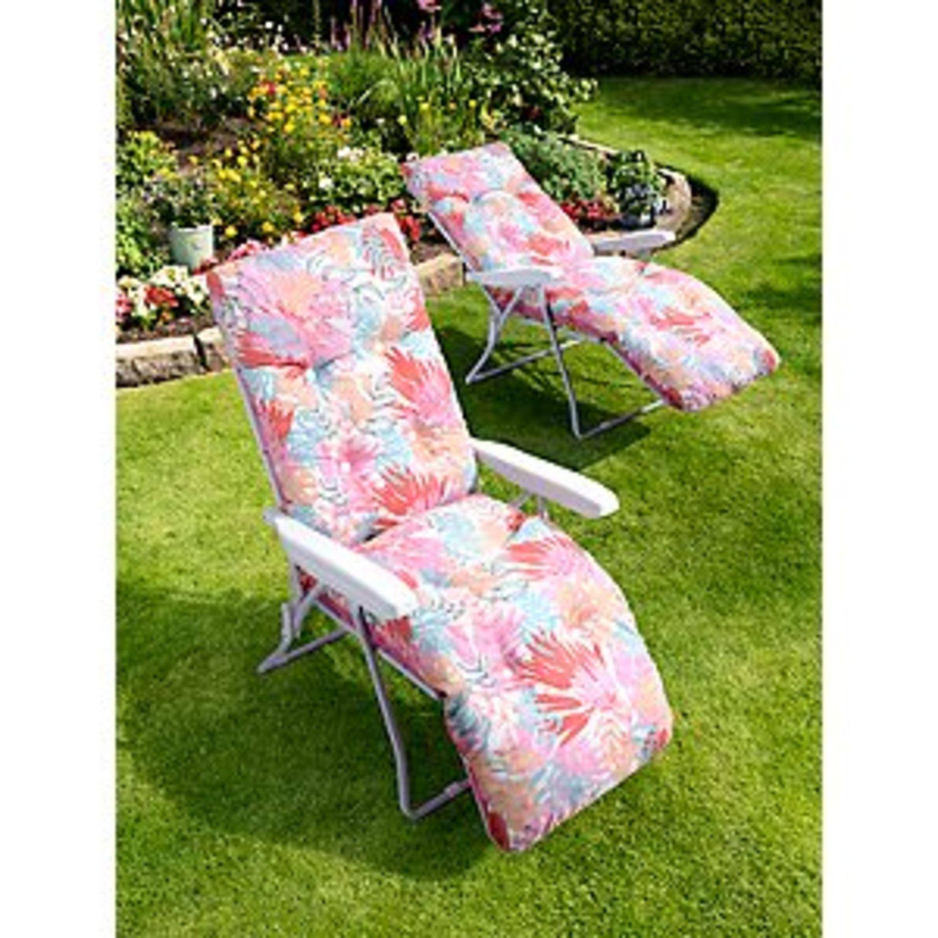 (3A) 2x Pastel Floral Reclining Garden Chair