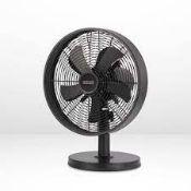 "(P9) 2x Arlec 12"" Matt Black 5 Blade Metal Desk Fan RRP £39 Each. Both Units Appear As New, But Da"
