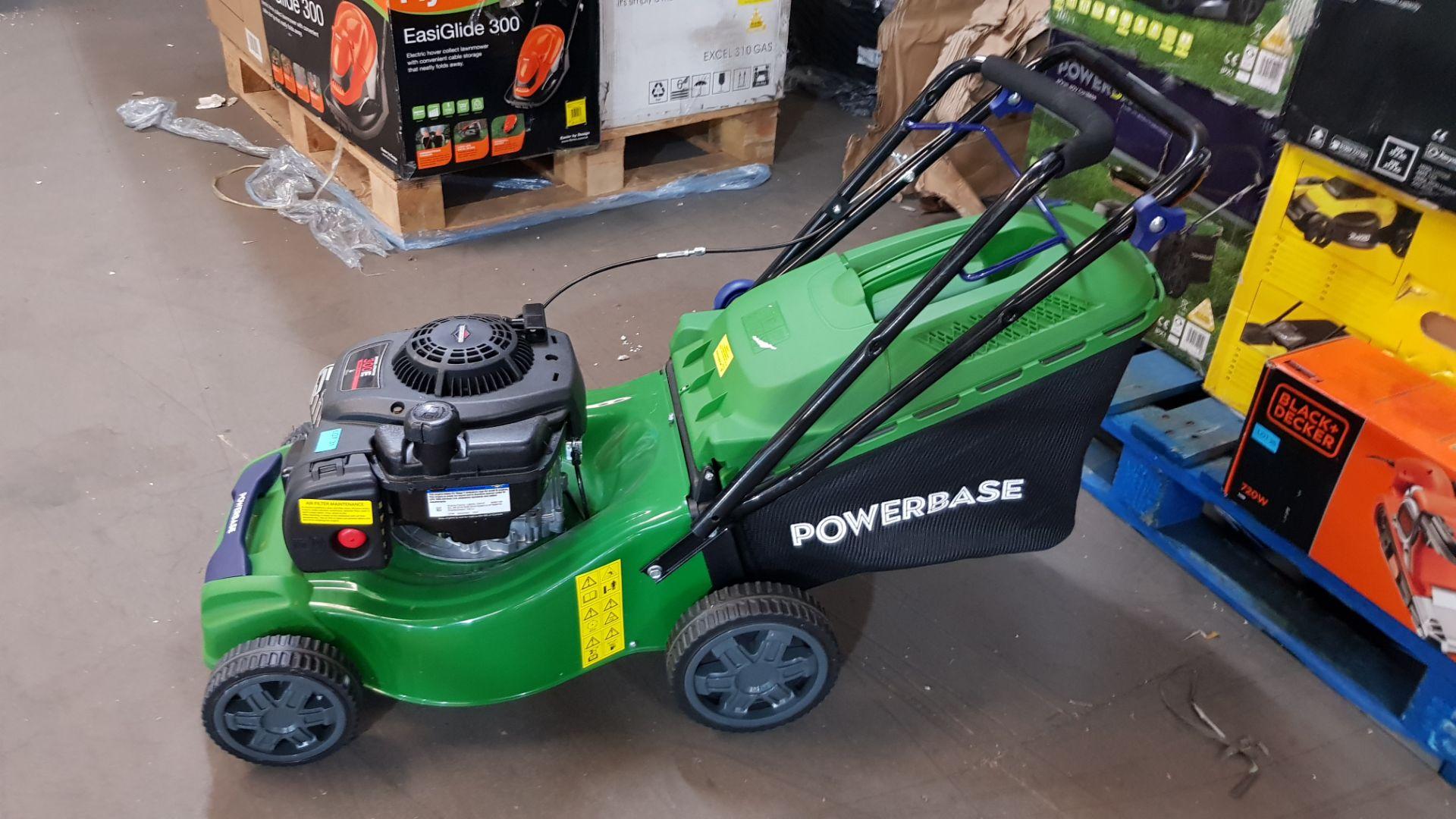 (P10) 1x Powerbase 41cm 125cc Push Petrol Rotary Lawn Mower (XSS41D) RRP £199. New, Clean Unused I - Image 4 of 8