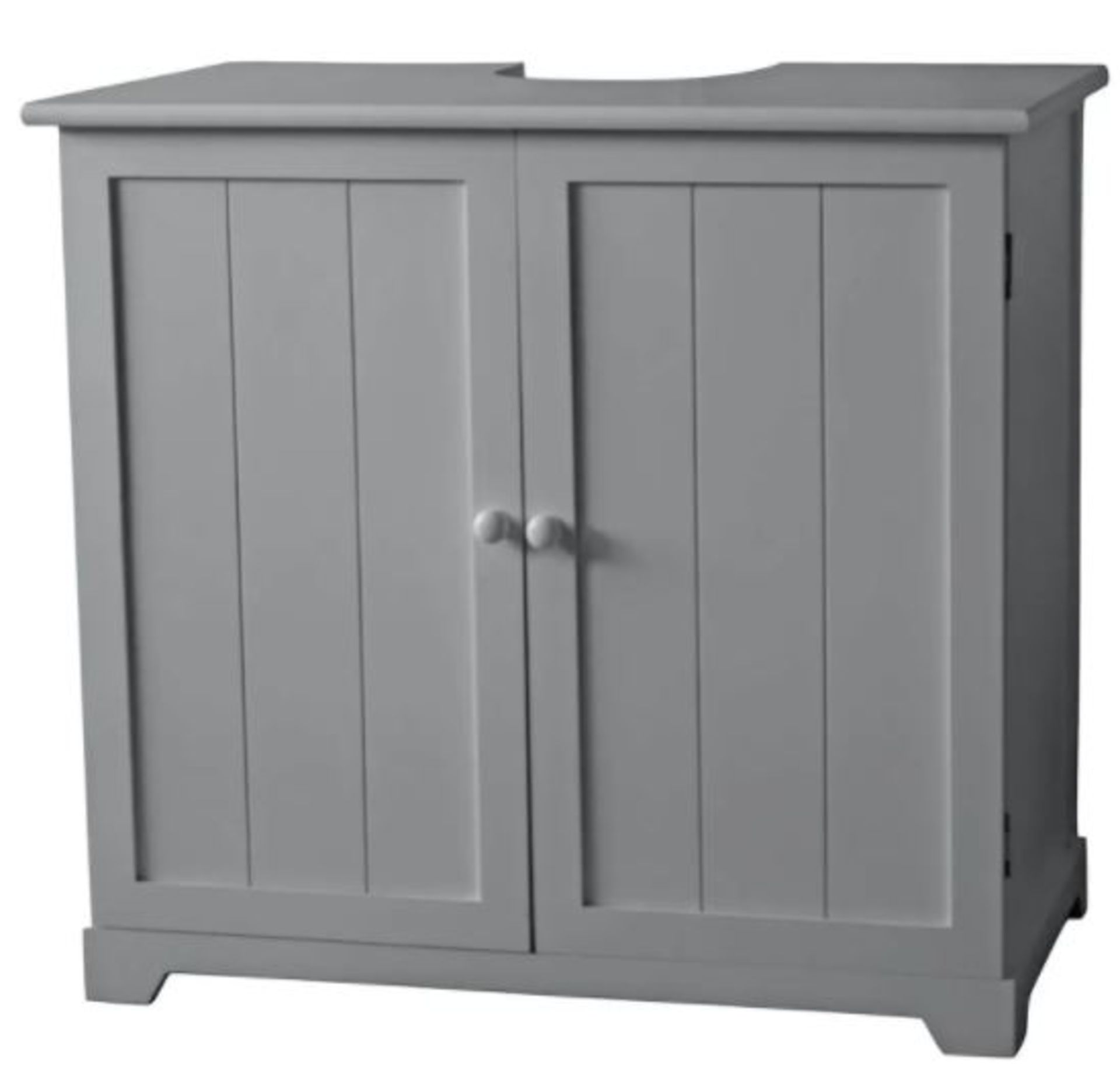 (P6) 1x Grey Classic Under Sink Double Unit RRP £65. Paulownia Wood. Grey Painted Finish. 2x Doors