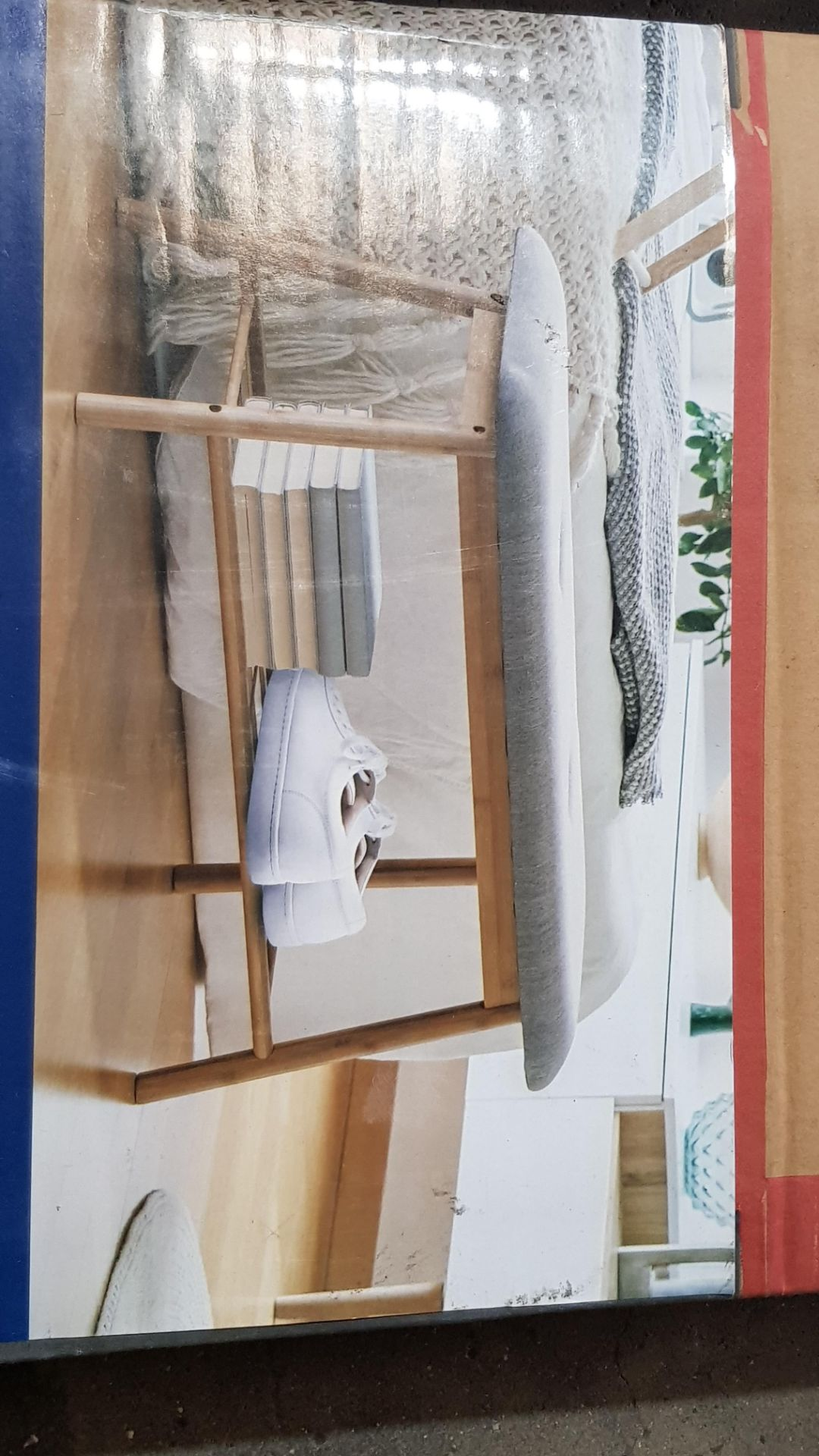 (3E) 2x Items. 1x Living Elements Bamboo Shoe Bench With Grey Cushion Seat. 1x VidaXL.com Radiator - Image 5 of 7