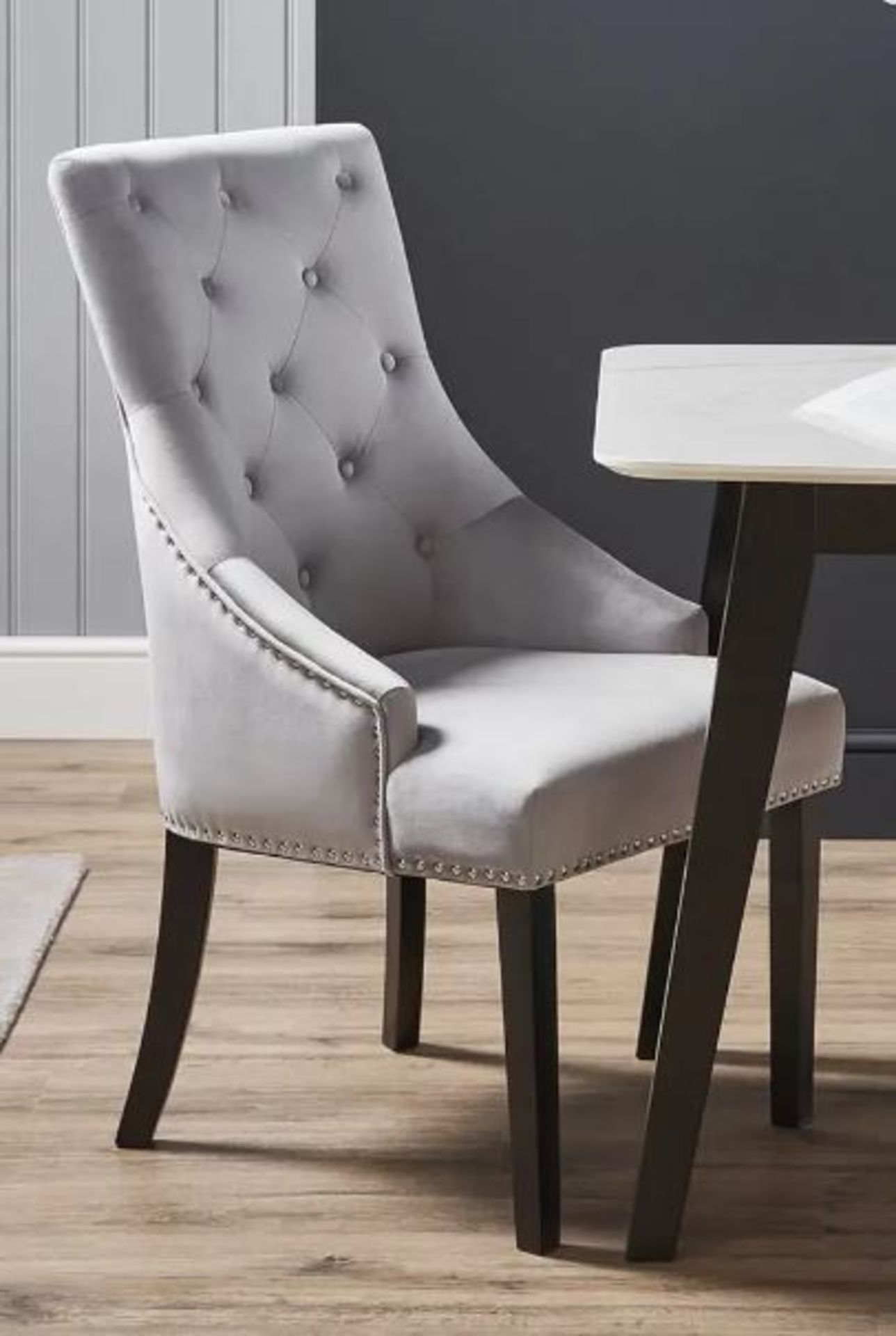 (3B) 2x Annabelle Velvet Ding Chairs Grey (RRP £150 When Complete). 1x With Legs & Loose Fixings. - Image 2 of 5