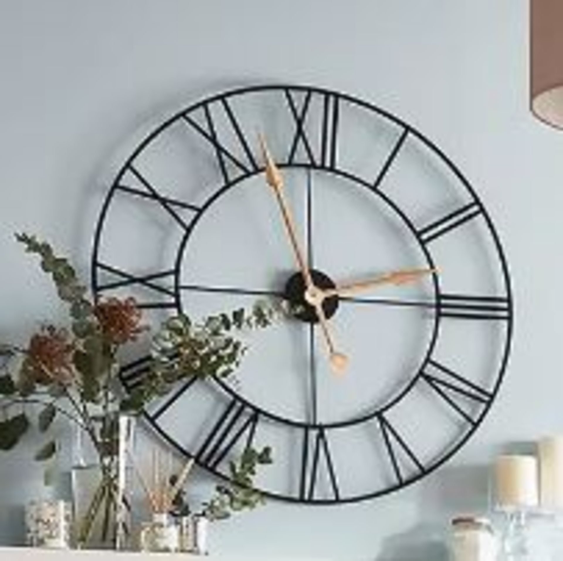 (P3) 1x Wall Clock Black. Traditional Style Clock With Roman Numerals, With Gold Hands. (H80x Dia - Image 2 of 3