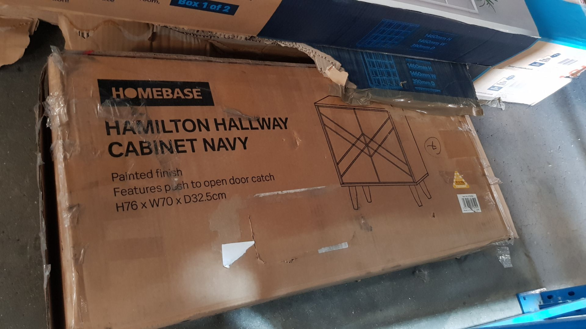 (2K) 4x Items. 1x Hamilton Shoe Cabinet Charcoal. 1x Hamilton Hallway Cabinet Navy (H76x W70x D32.5 - Image 6 of 8