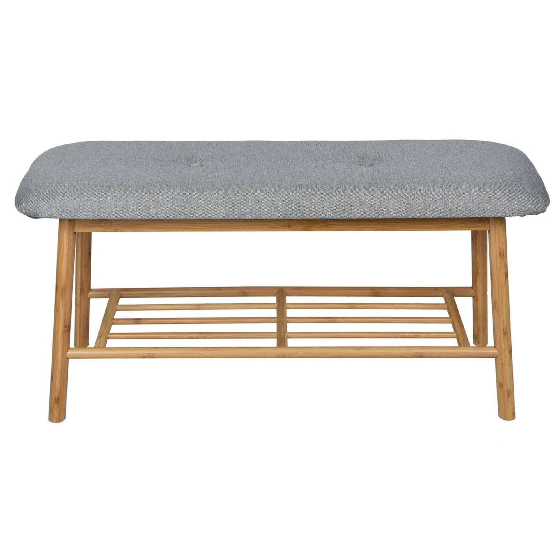 (3E) 2x Items. 1x Living Elements Bamboo Shoe Bench With Grey Cushion Seat. 1x VidaXL.com Radiator - Image 2 of 7