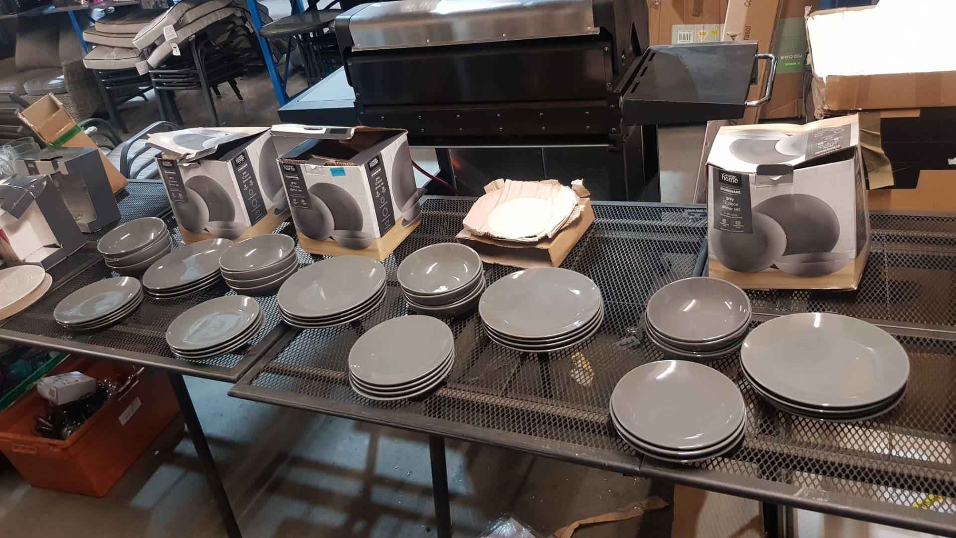 4x GH Stoneware Grey 12 Piece Dinner Set (Lot Comes With 3x Boxes)