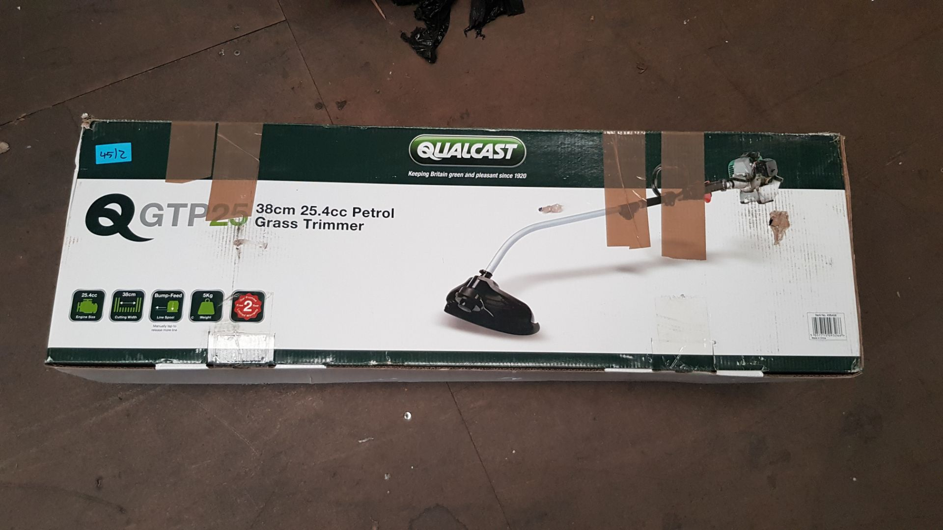 (P9) 2x Items. 1x Qualcast 25.4cc Petrol Grass Trimmer 38cm RRP £110. 1x Powerbase 51cm 20V Cordles - Image 4 of 4