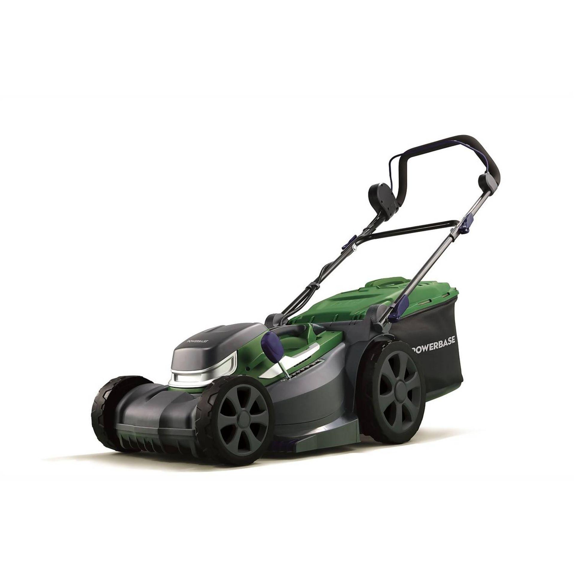 (P9) 1x Powerbase 37cm 40V Cordless Lawn Mower. RRP £199.00. Unit Appears Clean, As New & Unused.