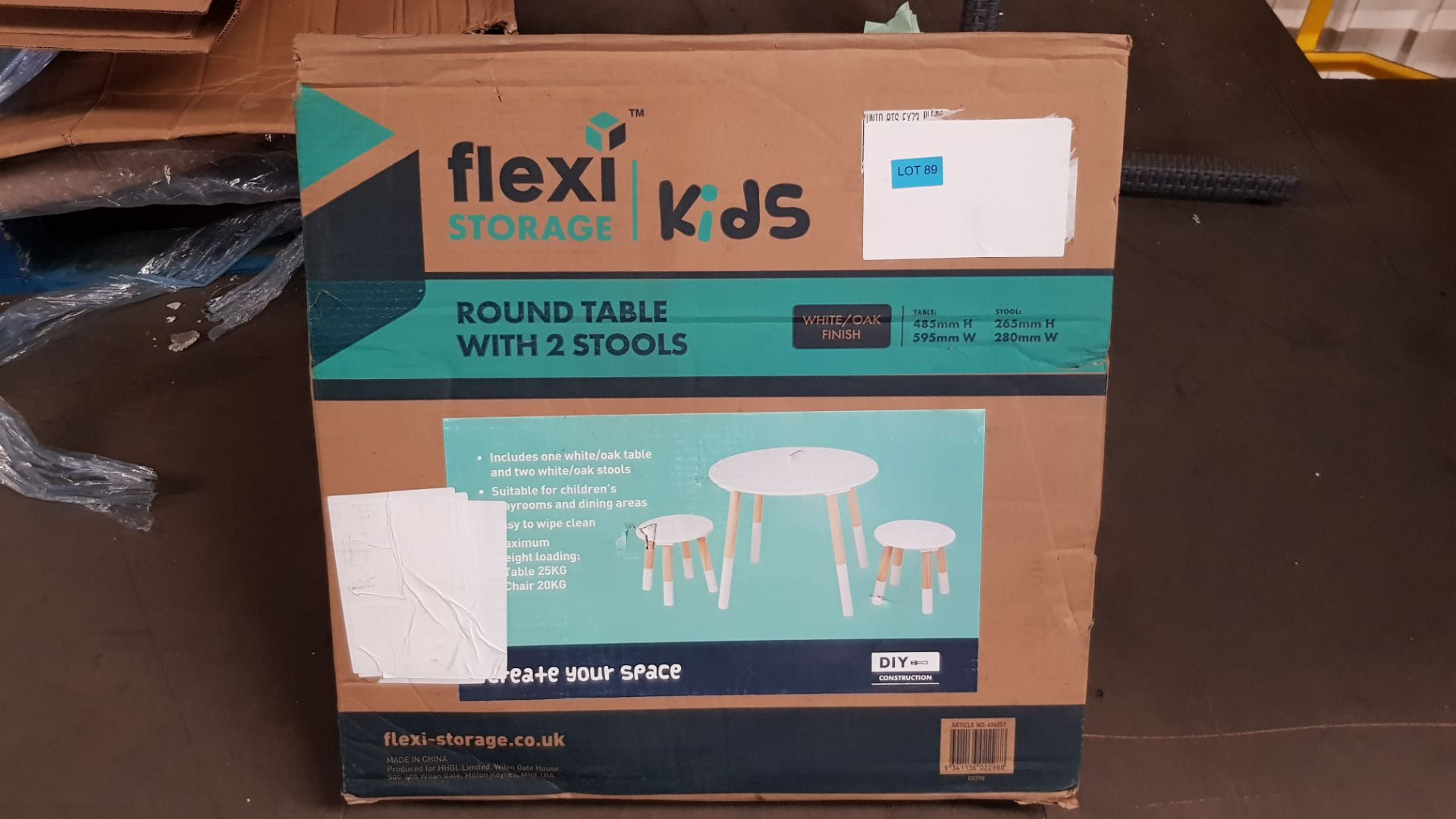 (P3) 1x Flexi Storage Kids Round Table With 2x Stools. White / Oak Finish. Table: H485x W595mm. S - Image 3 of 3