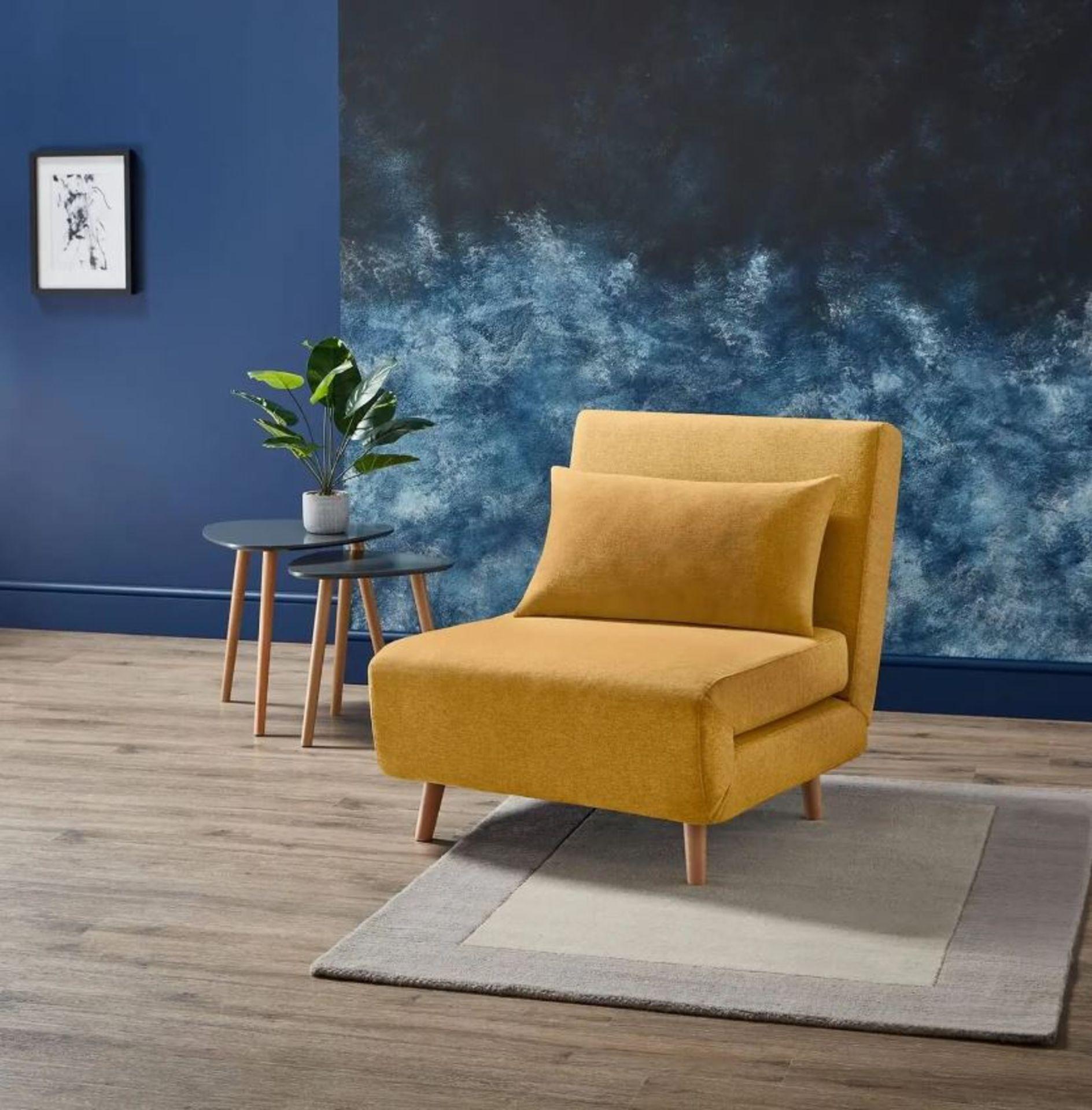 (3D) 1x Freya Folding Chair Bed Ochre. RRP £200.00.
